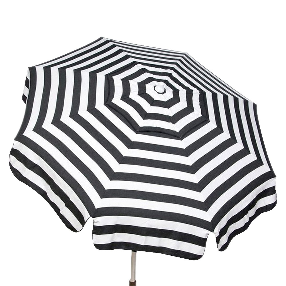 Darwen Tiltable Patio Stripe Market Umbrellas Inside Most Up To Date Parasol 6' Italian Aluminum Collar Tilt Beach Umbrella – Black/white (View 6 of 20)