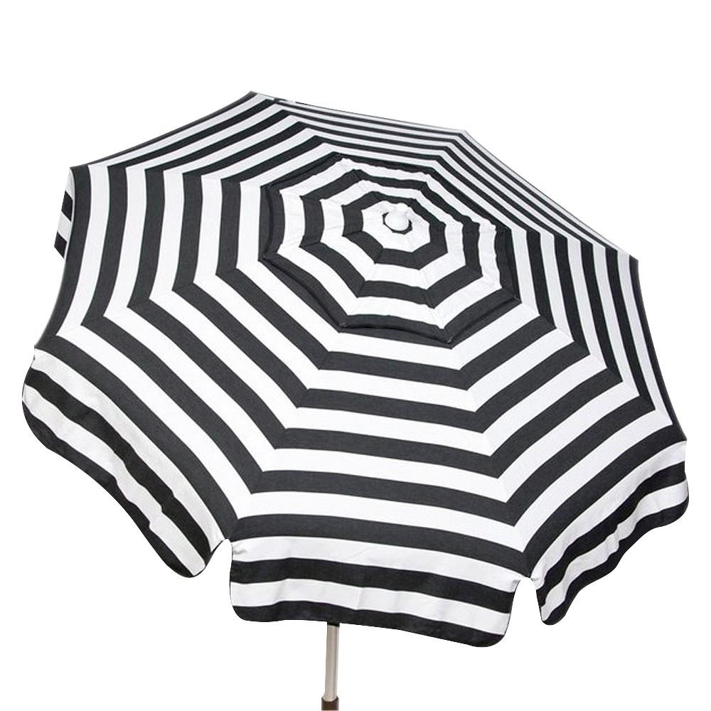 Darwen Tiltable Patio Stripe Market Umbrellas Inside Most Up To Date Parasol 6' Italian Aluminum Collar Tilt Beach Umbrella – Black/white (View 13 of 20)