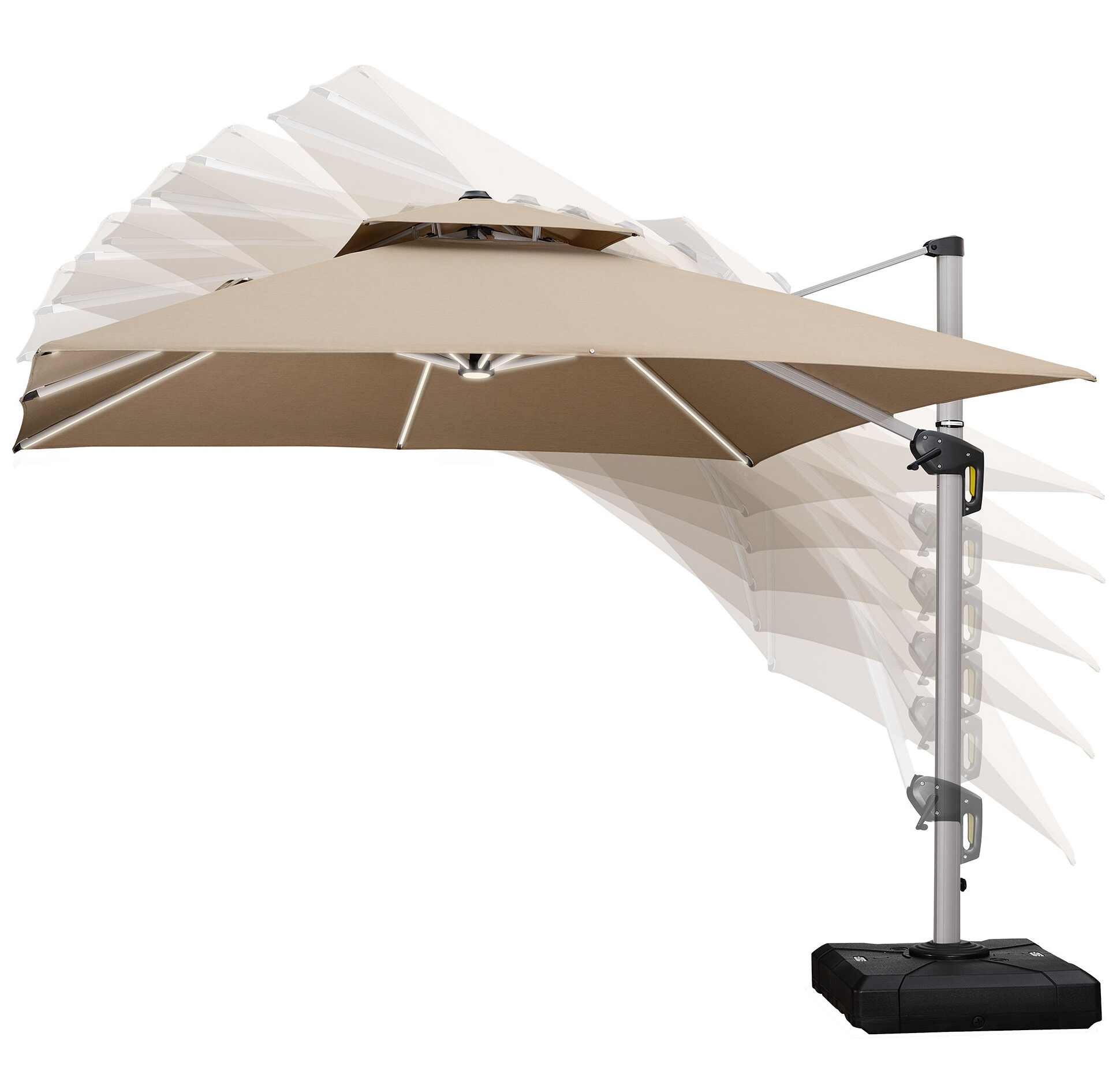 Desmond Rectangular Cantilever Umbrellas Within Well Known Dermott 10' Square Cantilever Umbrella (View 5 of 20)