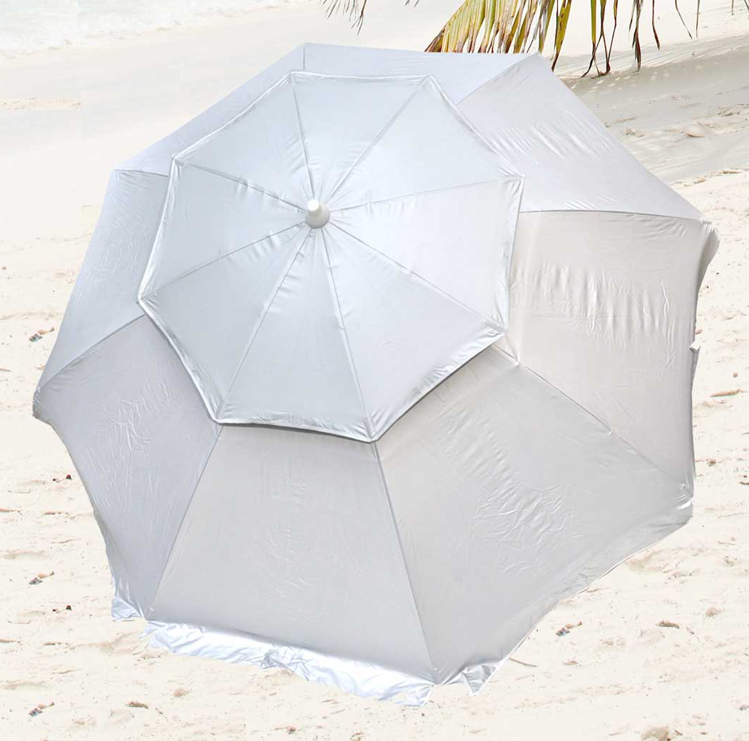 Details About 8 Ft Deluxe Solarguard Dual Canopy Beach Umbrella Upf 150+  Ultra Cool Heavy Duty Inside Most Current Schroeder Heavy Duty Beach Umbrellas (View 4 of 20)