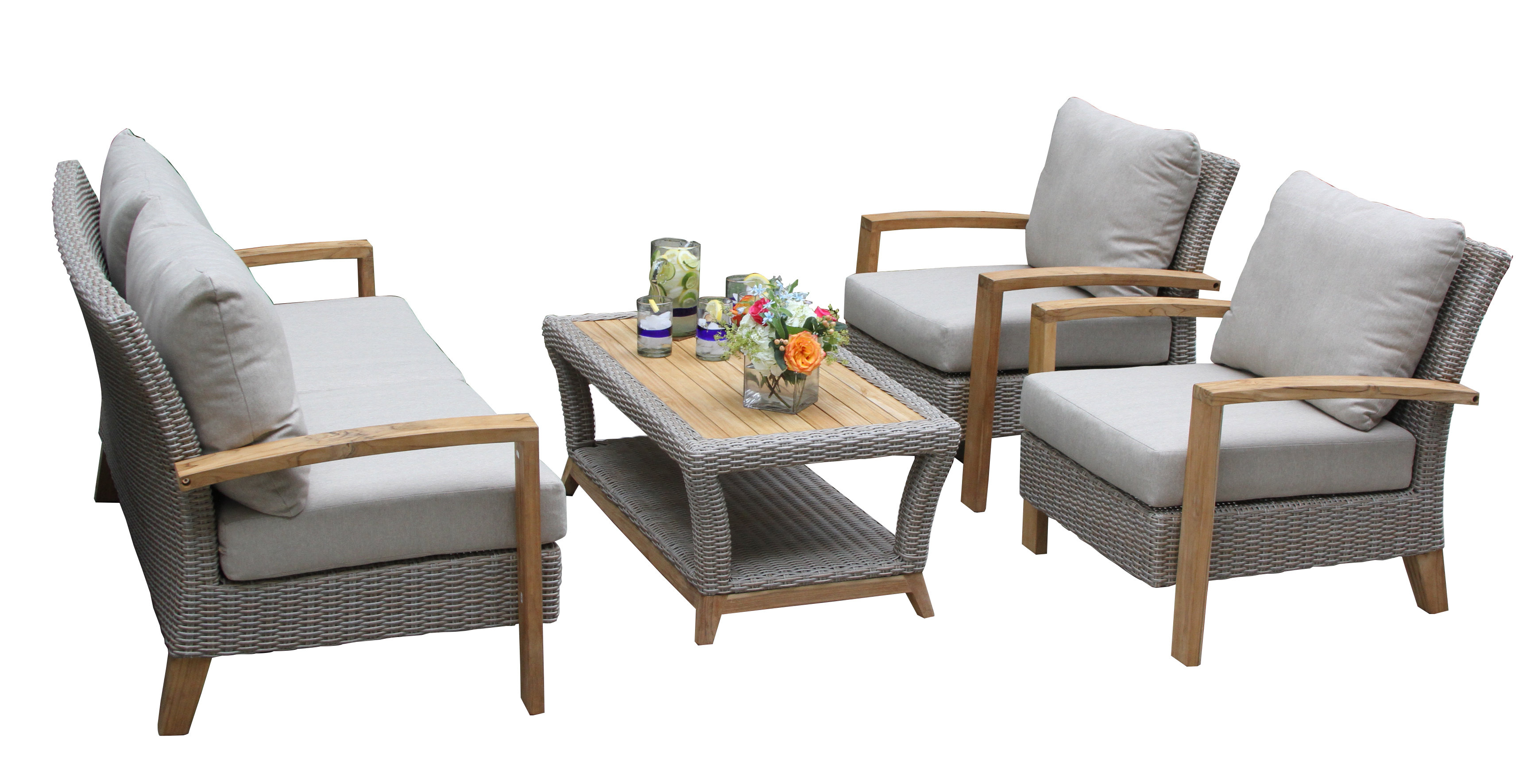 Dillard 4 Piece Rattan Sofa Seating Group With Cushions Intended For Favorite Elaina Cantilever Umbrellas (View 4 of 20)