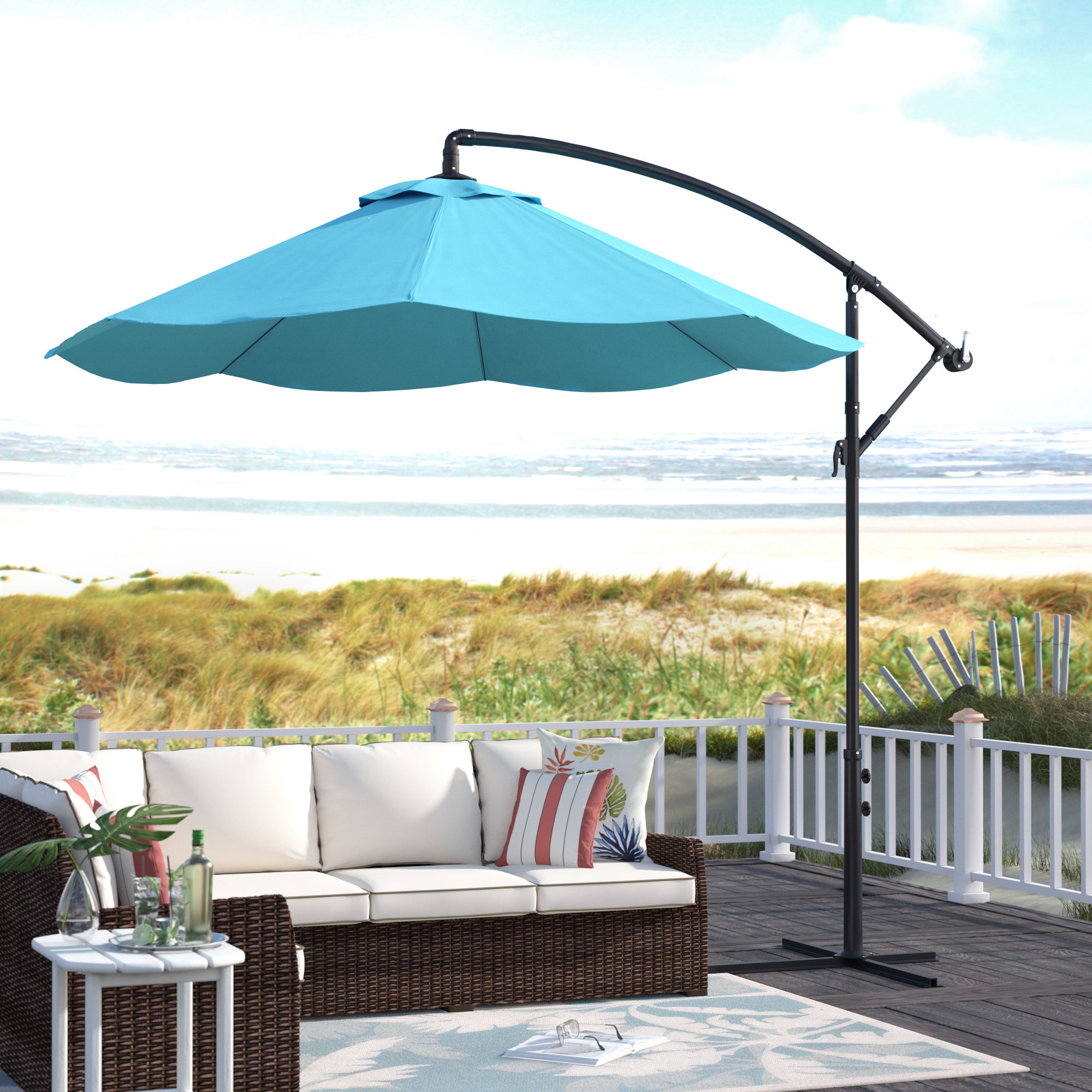 Dore Patio Cantilever Umbrellas Regarding Most Current Vassalboro 10' Cantilever Umbrella (View 12 of 20)