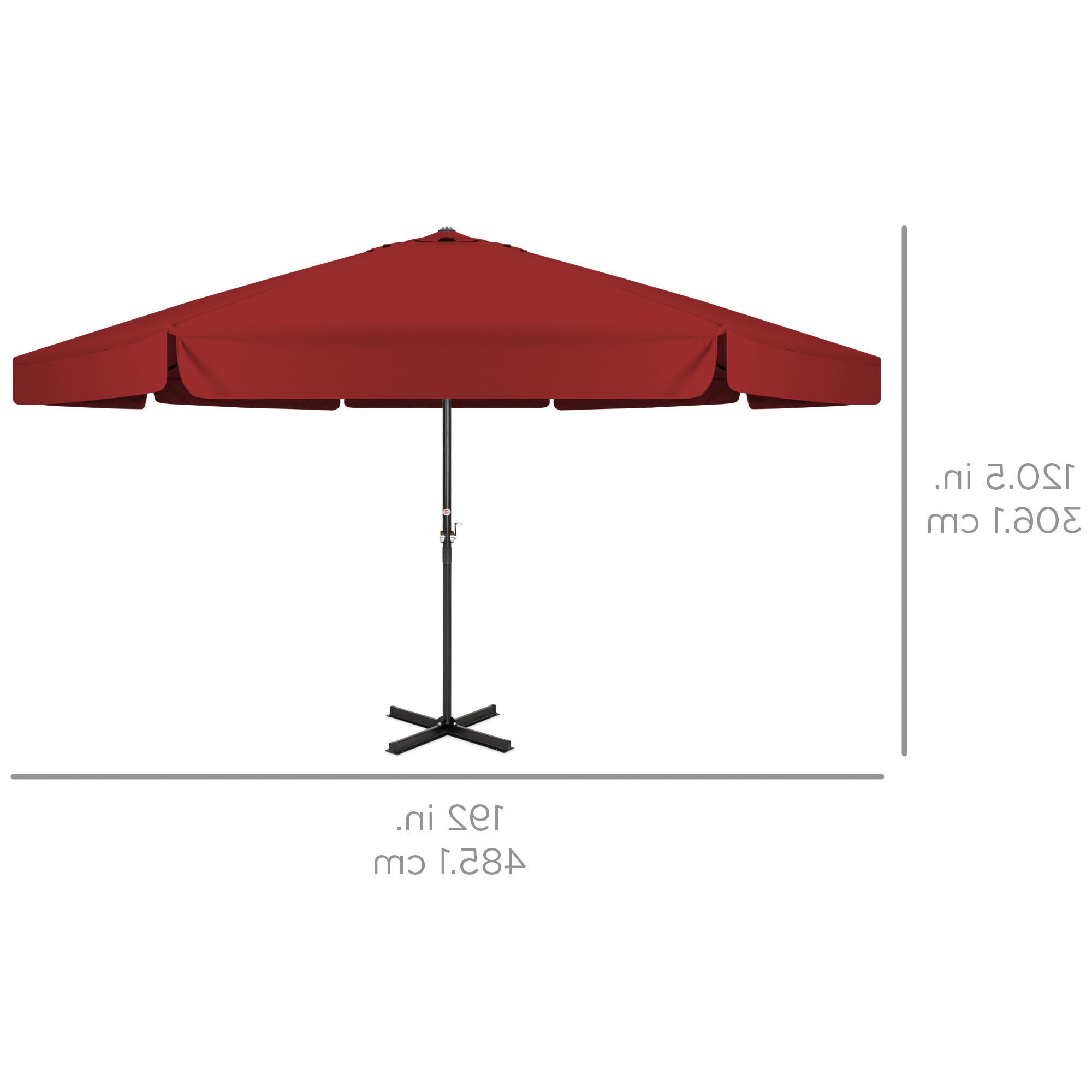 Drape Umbrellas For Famous Best Choice Products 16Ft Outdoor Patio Drape Canopy Market Umbrella W/  Cross Base, Crank, Air Vent – Burgundy (View 7 of 20)