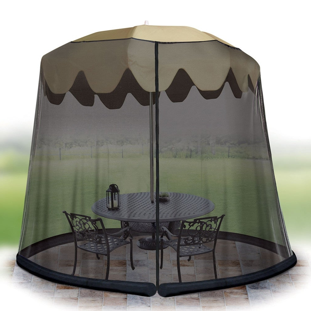 Drape Umbrellas Inside Most Current Outdoor Umbrella Drape Mesh Bug Screen – Fits 9 Foot Umbrella (View 8 of 20)