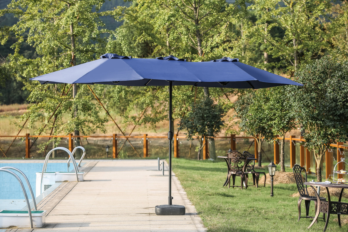 Eisele 9' W X 15' D Rectangular Market Umbrella Throughout Trendy Solid Rectangular Market Umbrellas (View 3 of 20)