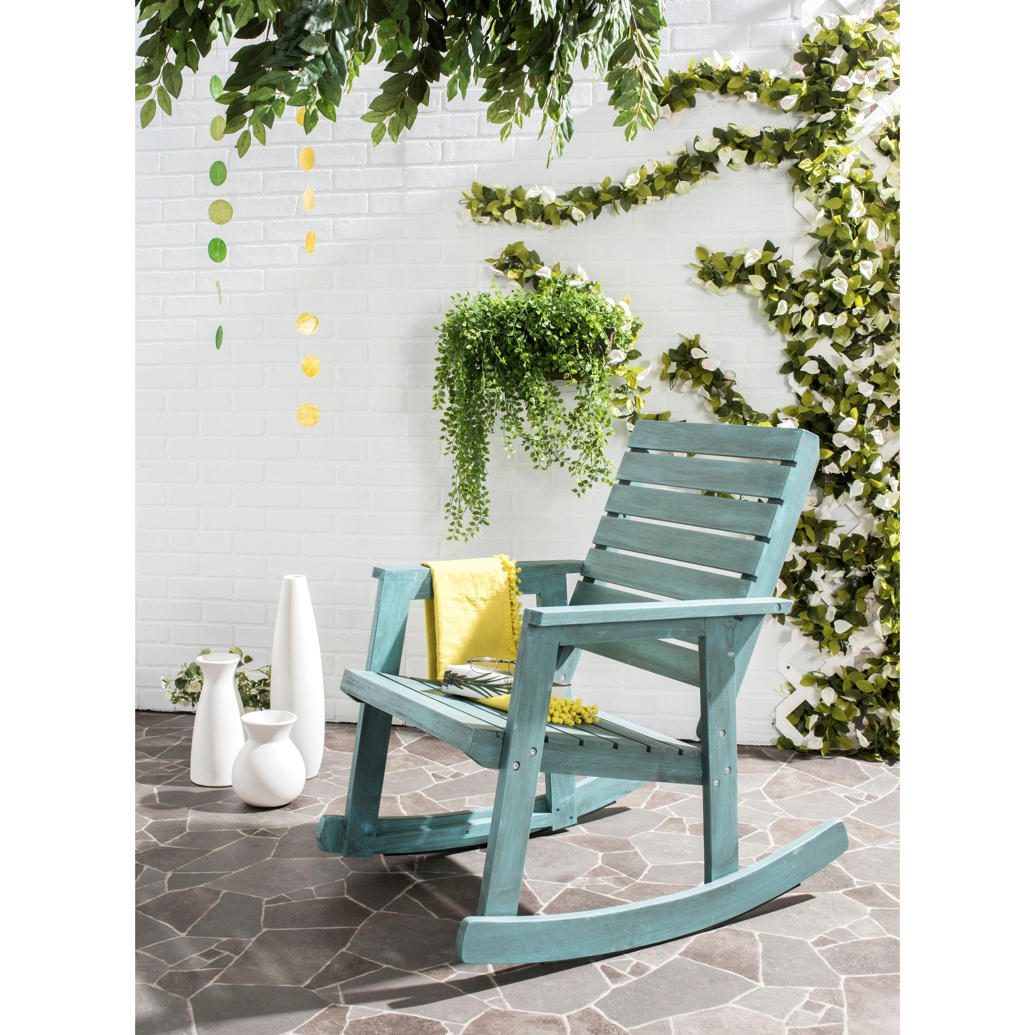 Elaina Cantilever Umbrellas For Well Known Safavieh Outdoor Living Alexei Beach House Blue Rocking Chair (View 5 of 20)