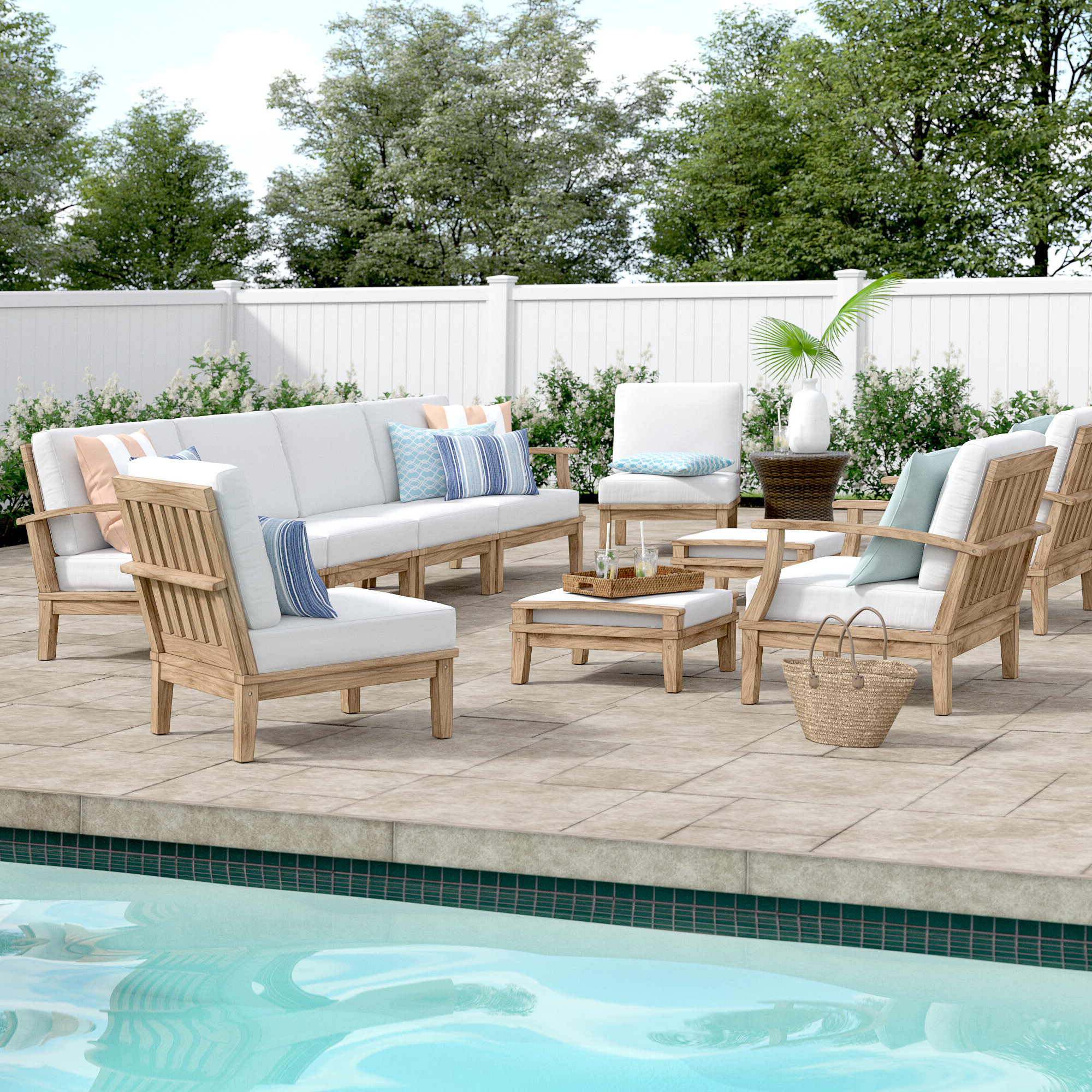 Elaina Cantilever Umbrellas For Well Liked Elaina 10 Piece Teak Sectional Seating Group With Cushions (View 6 of 20)