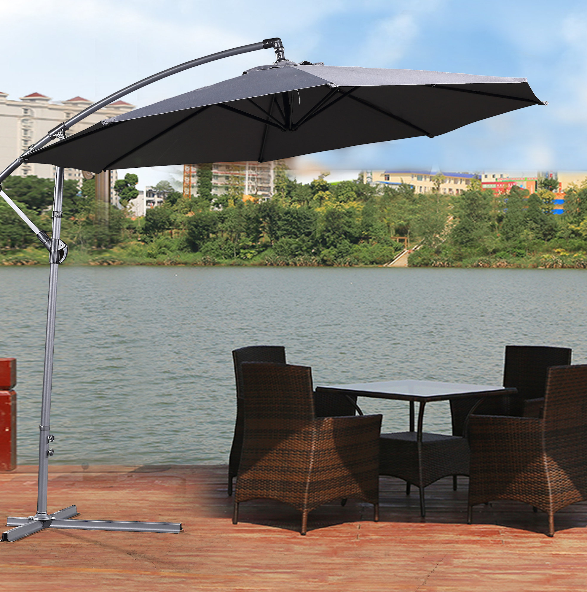 Elaina Cantilever Umbrellas With Regard To Recent Britton 11' Cantilever Umbrella (View 13 of 20)