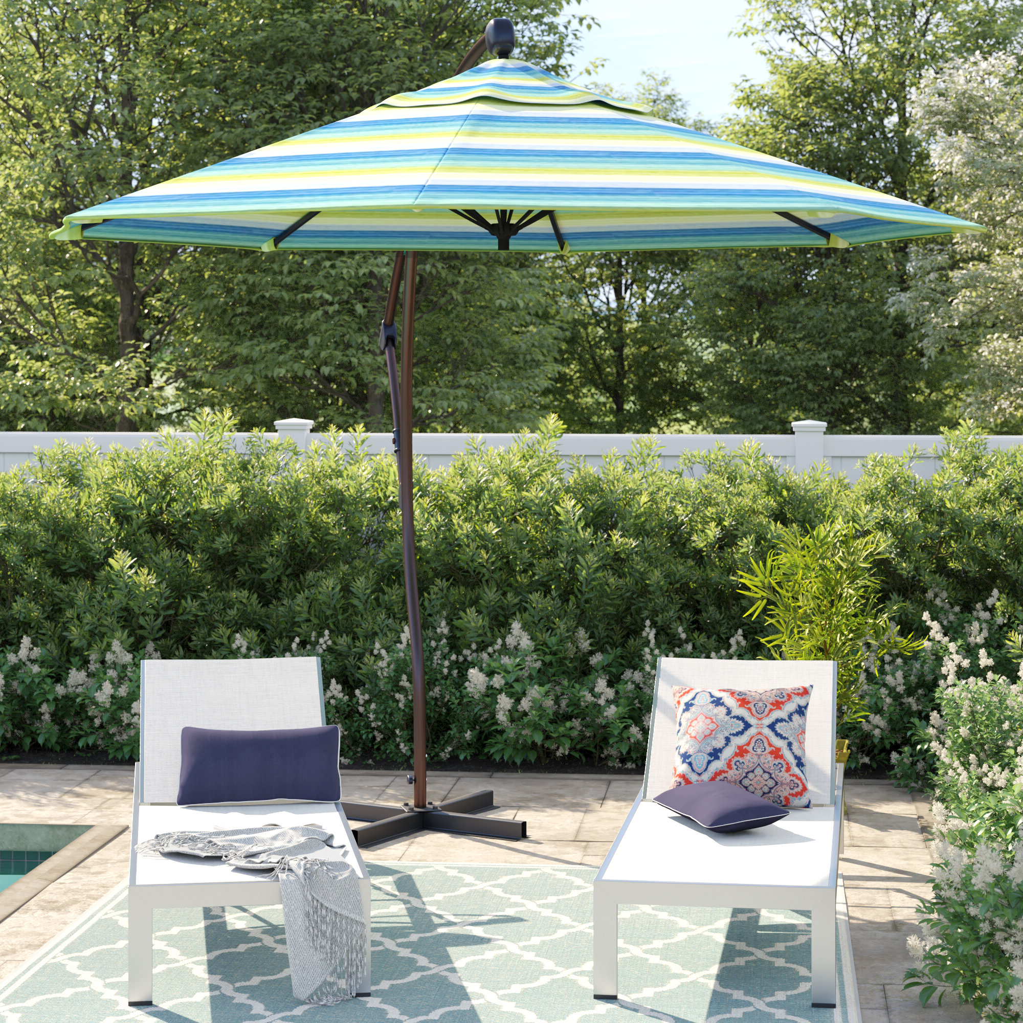 Emely Cantilever Sunbrella Umbrellas For Most Up To Date Capri 9' Cantilever Sunbrella Umbrella (Gallery 6 of 20)