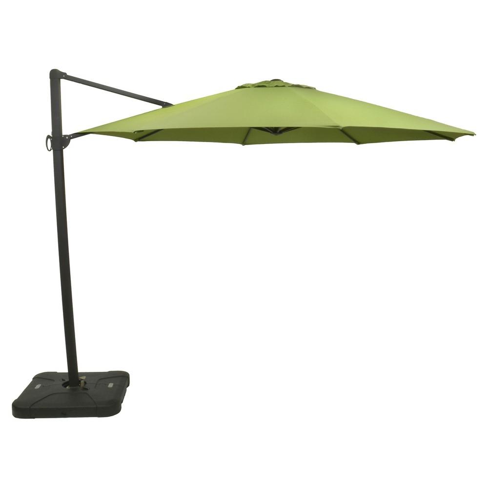 Emely Cantilever Sunbrella Umbrellas In Latest 11' Offset Sunbrella Umbrella – Spectrum Cilantro – Black Pole (View 15 of 20)