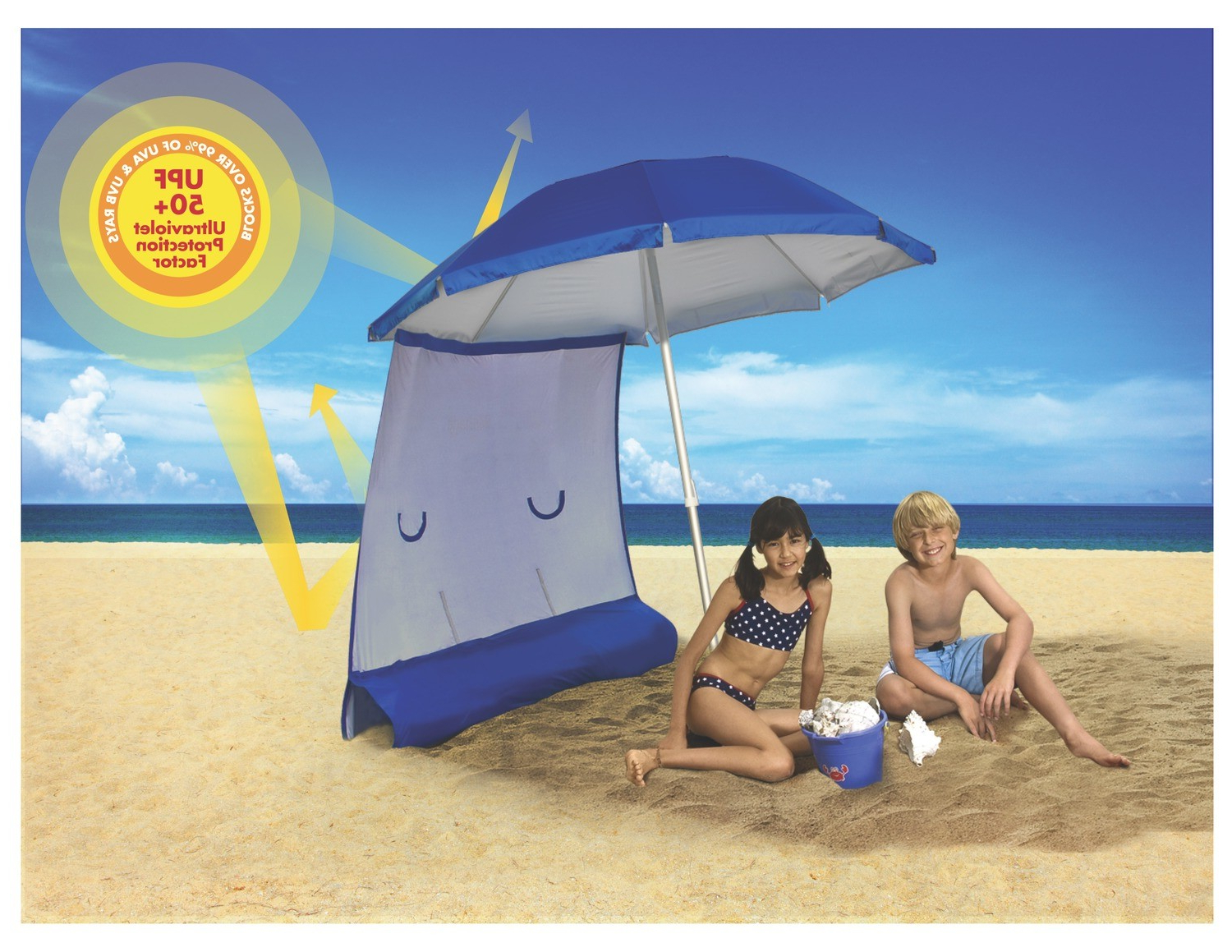 Ezshade Beach Umbrella & Sun Shield Combo For Fashionable Leasure Fiberglass Portable Beach Umbrellas (View 20 of 20)