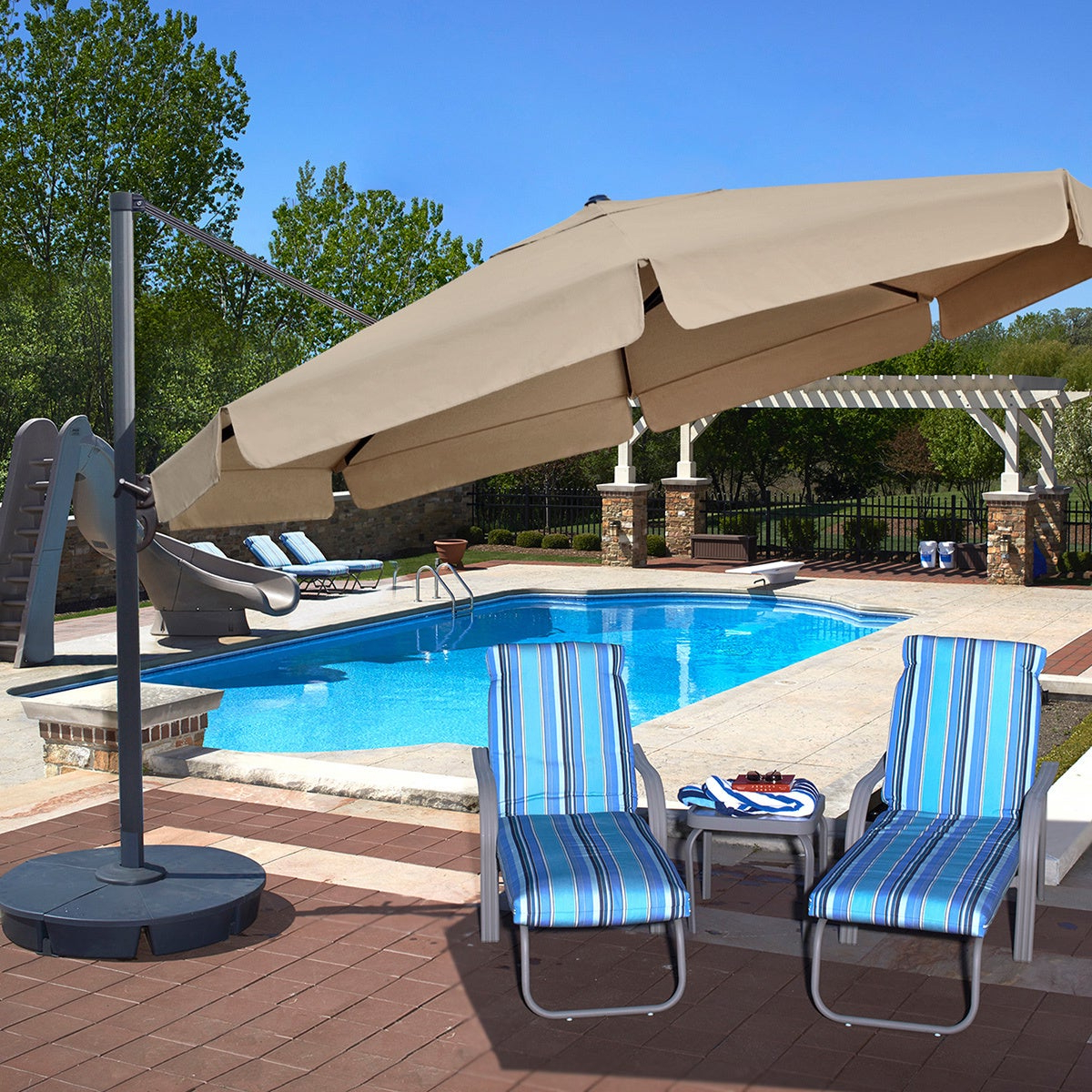 Famous Cantilever Umbrellas With Victoria 13 Ft Octagon Cantilever Umbrella With Valance In Sunbrella Acrylic (View 7 of 20)