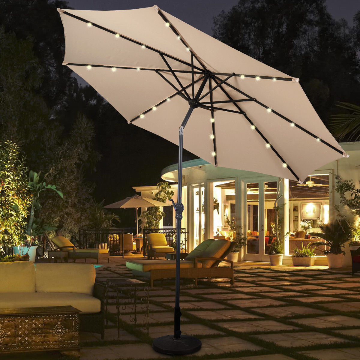 Famous Venice Lighted Umbrellas With Costway 10Ft Patio Solar Umbrella Led Patio Market Steel Tilt W/ Crank Outdoor Beige (View 18 of 20)