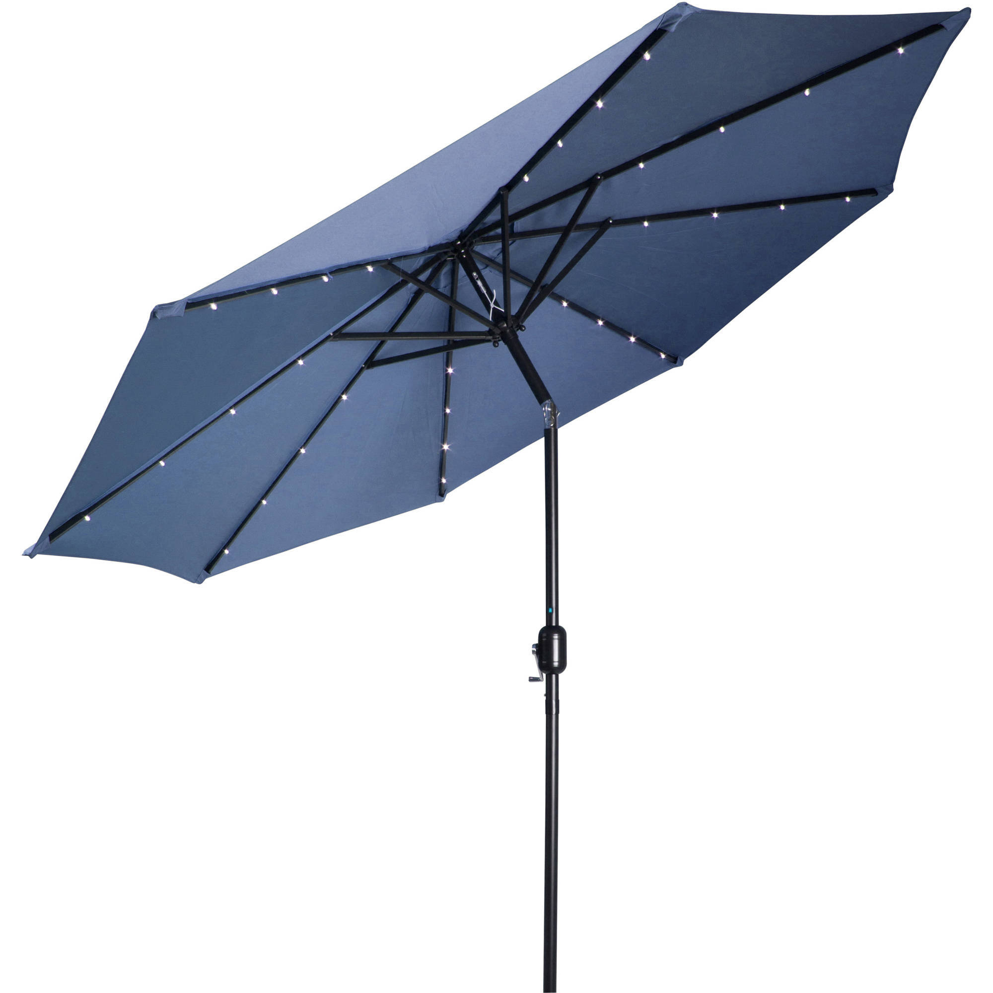 Fashionable 9' Deluxe Solar Powered Led Lighted Patio Umbrella, Tan Inside Solar Powered Led Patio Umbrellas (View 1 of 20)