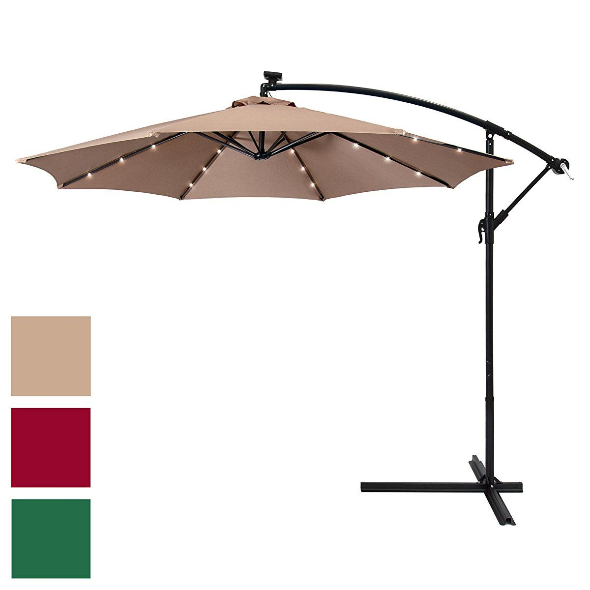 Fashionable Best Choice Products 10Ft Solar Led Patio Offset Umbrella W/easy For Herlinda Solar Lighted Market Umbrellas (View 3 of 20)