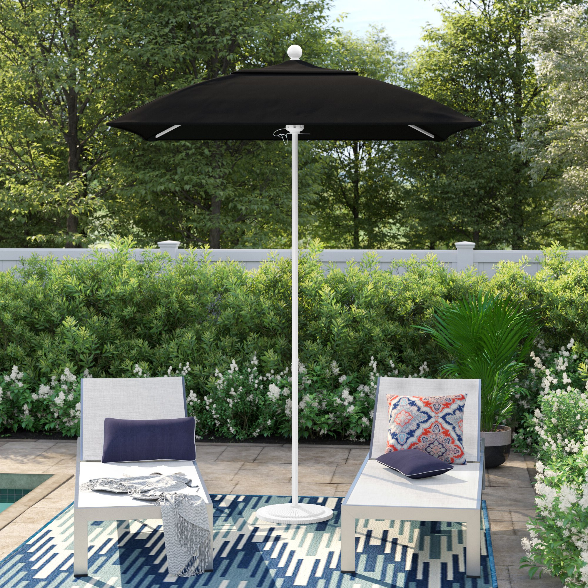 Fashionable Branam Lighted Umbrellas Pertaining To Benson 6' Square Market Sunbrella Umbrella (View 7 of 20)