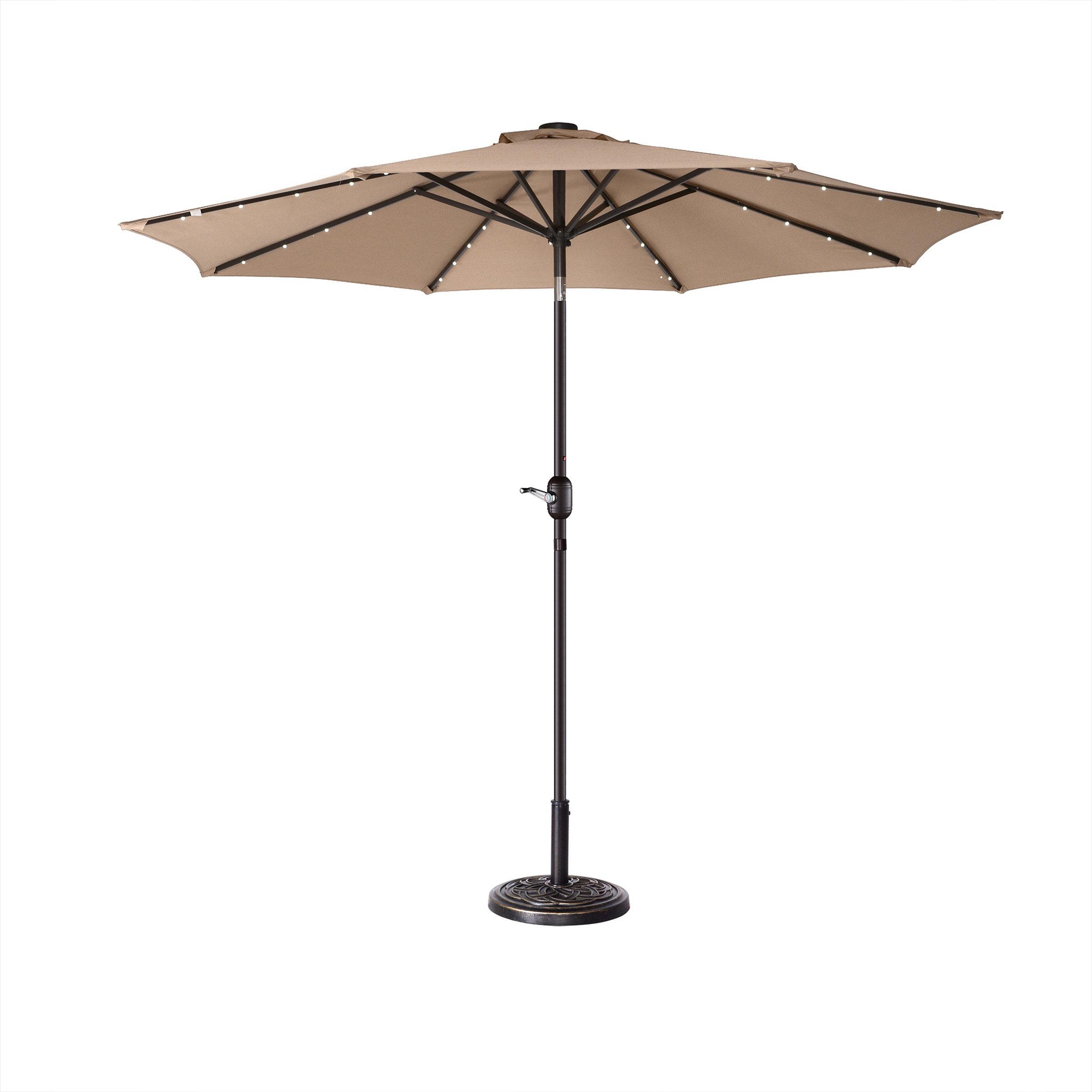 Fashionable Colburn Half Market Umbrellas Pertaining To Coggeshall Led Lighted 9' Market Umbrella (View 15 of 20)
