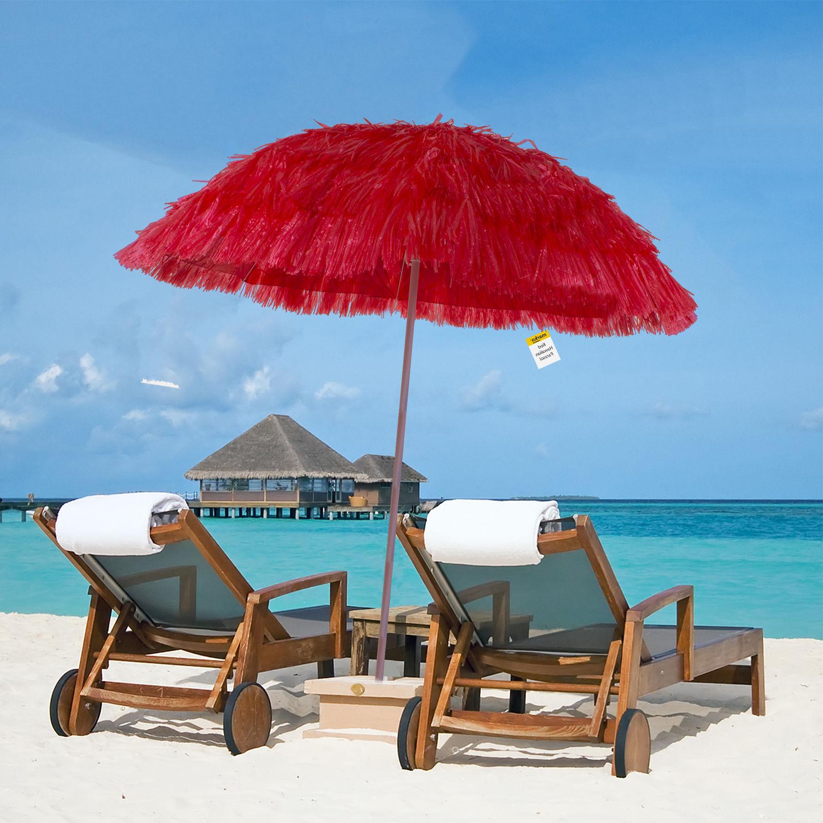 Fashionable Details About Outdoor Hawaiian Parasol Beach Umbrella Tilt Sun Shade Hawaii Style Patio Garden Regarding Tilt Beach Umbrellas (View 15 of 20)