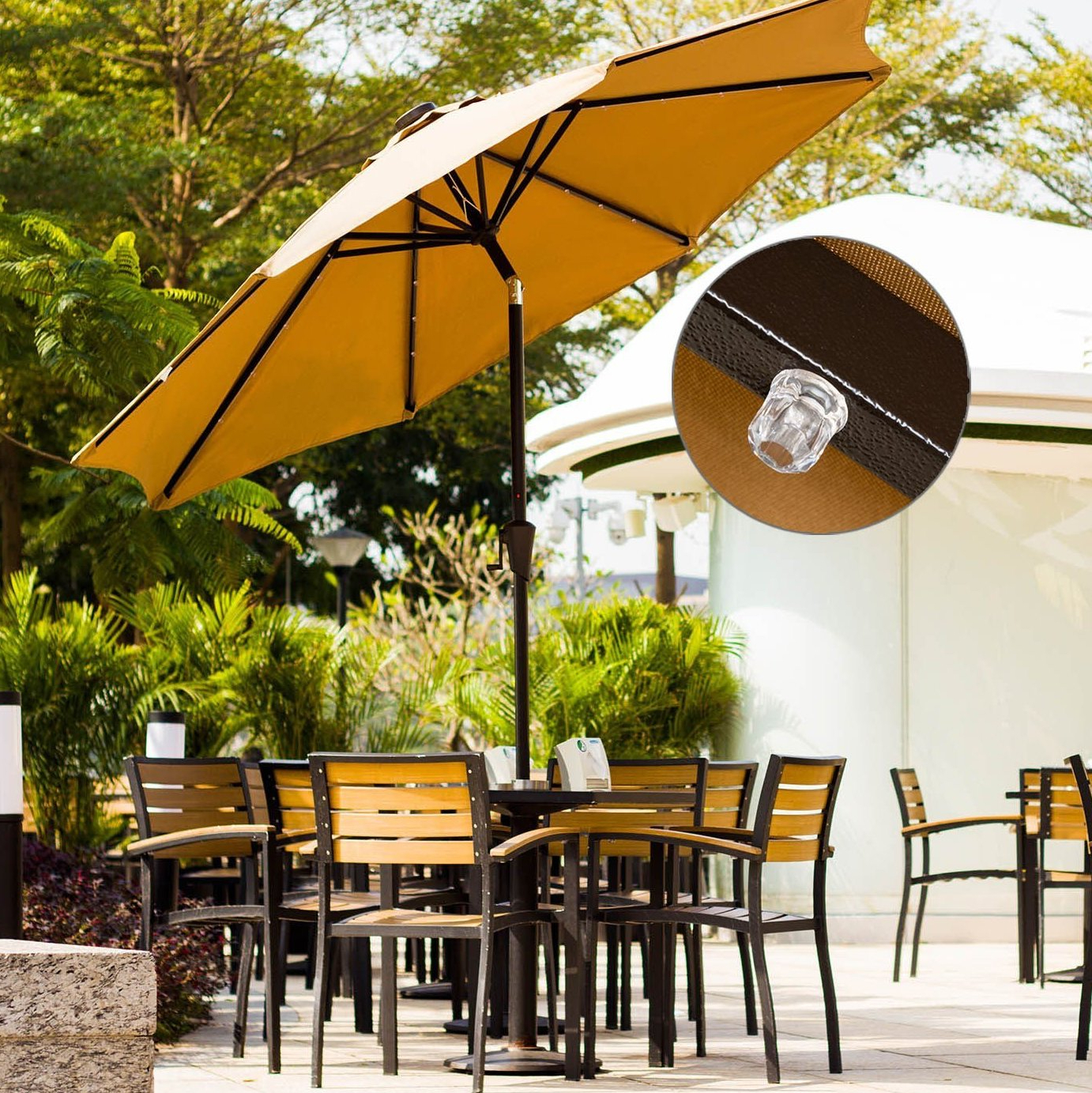 Fashionable Hettie Solar Lighted Market Umbrellas Throughout Mickinley 9' Lighted Umbrella (View 9 of 20)