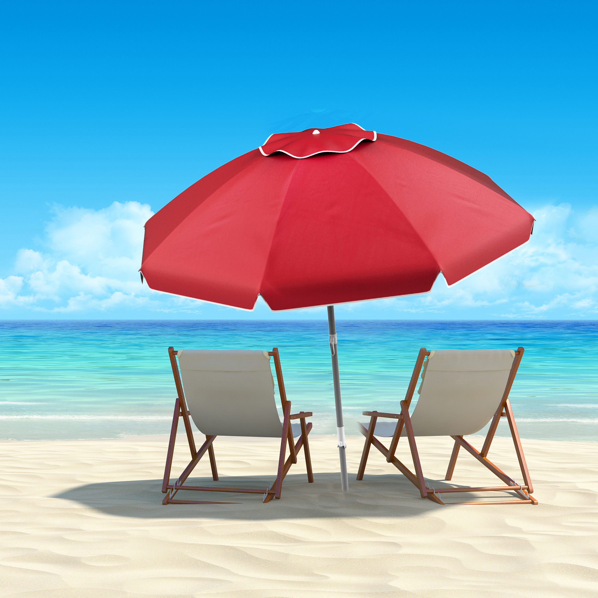 Fashionable Tilt Beach Umbrellas Intended For Beach Umbrella With 360 Degree Tilt Portable Outdoor Sun Shade Canopy With Uv Protection, Sand Anchor, Carrying Casepure Garden (7 Ft, Blue) (View 1 of 20)