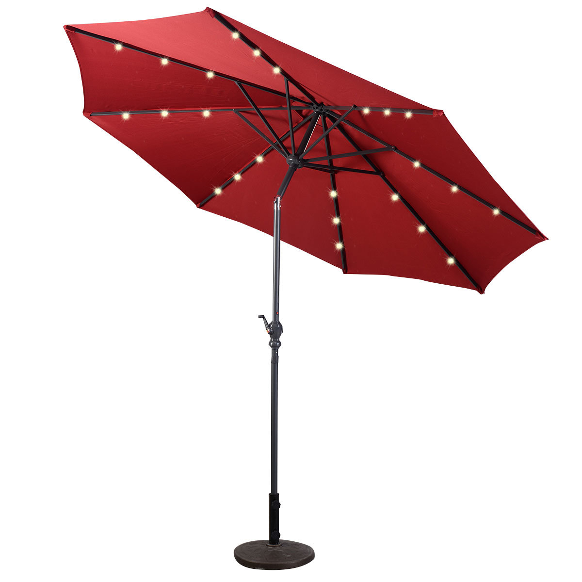 Favorite Branscum Lighted Umbrellas In Baggett Patio Solar 10' Market Umbrella (View 9 of 20)