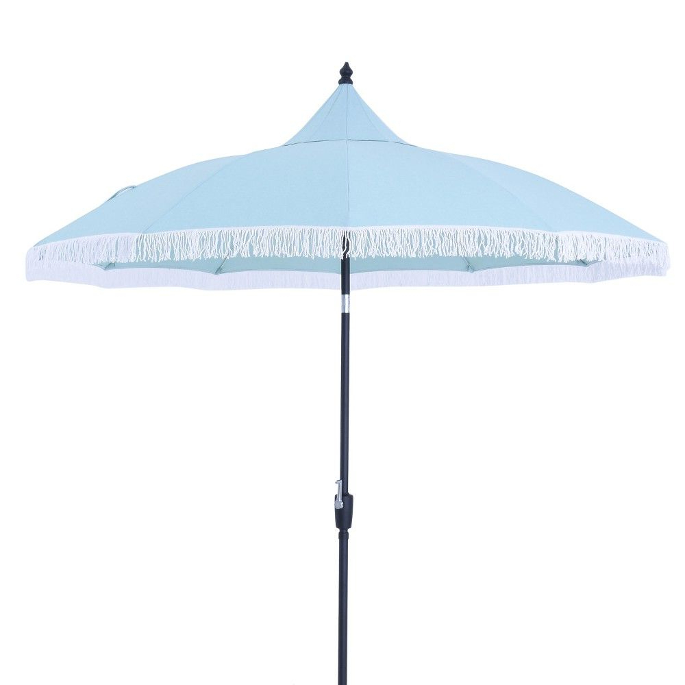 Favorite Crediton Market Umbrellas Throughout 9' Round Carousel Patio Umbrella – Aqua (blue) – Threshold (View 18 of 20)