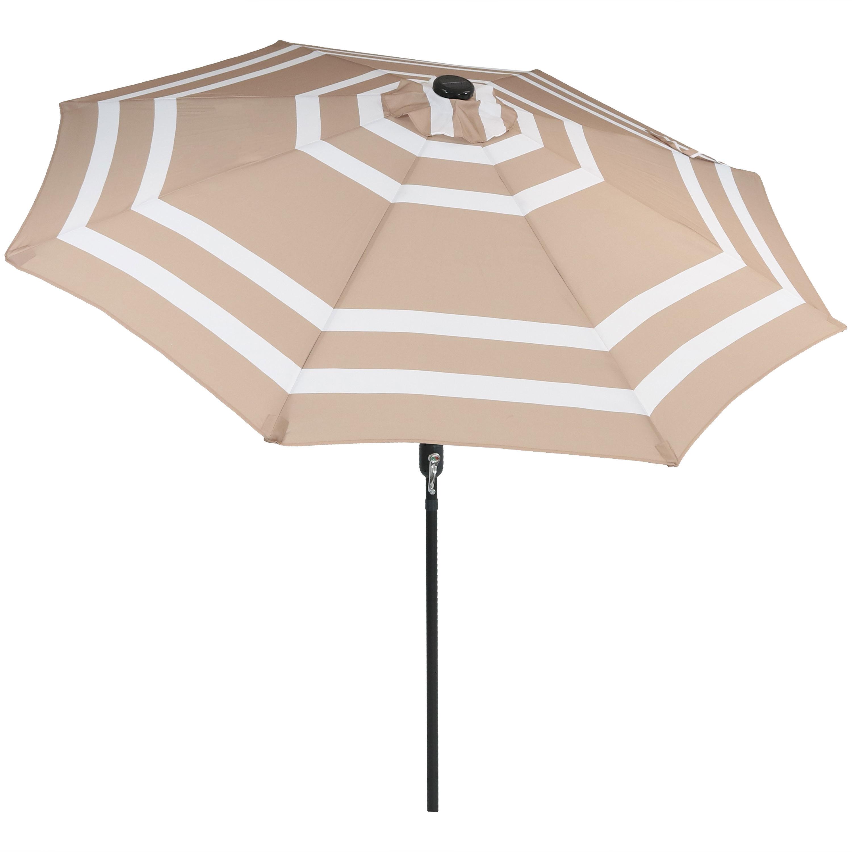 Favorite Docia 9' Market Umbrella Regarding Darwen Tiltable Patio Stripe Market Umbrellas (View 11 of 20)