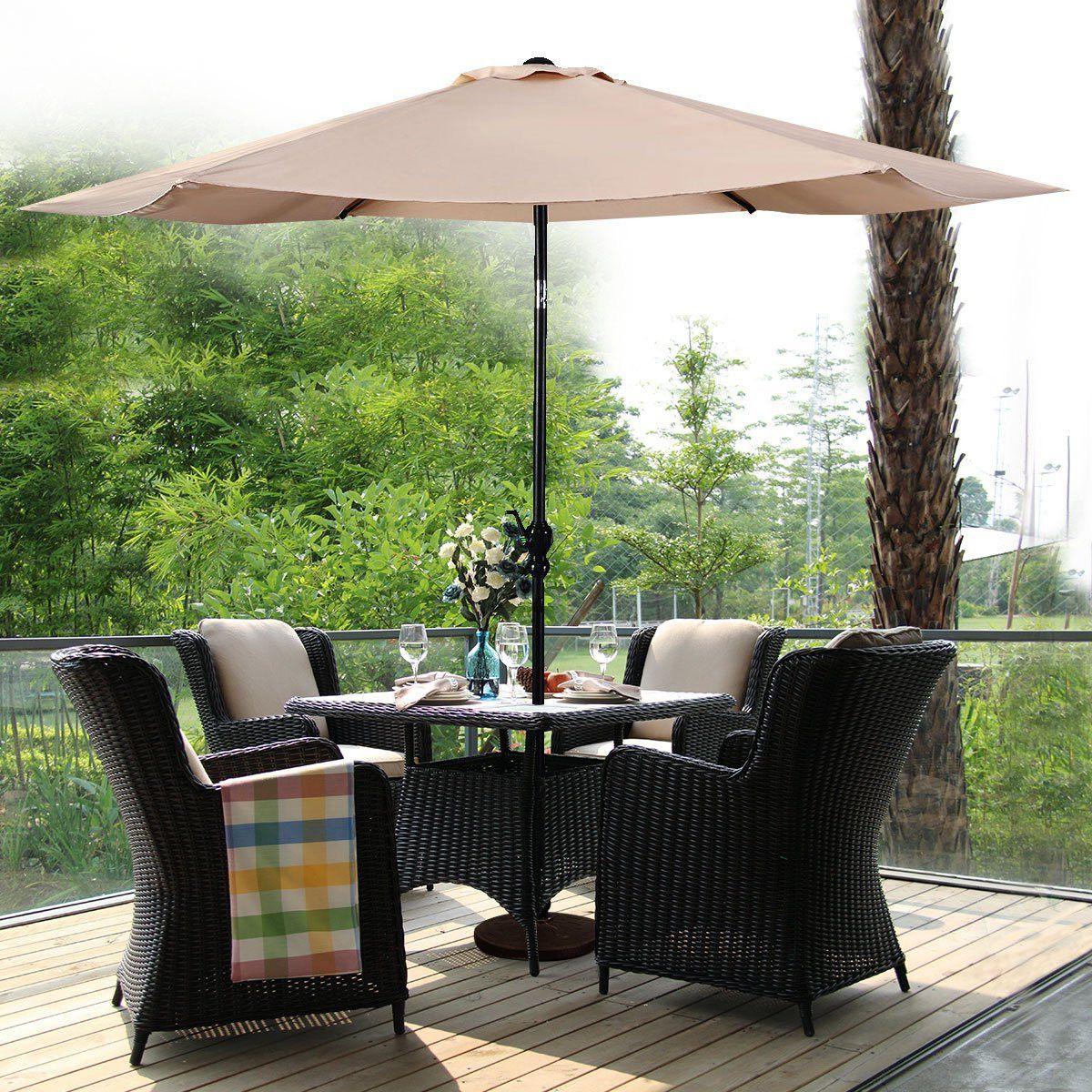 Favorite Giantex 10Ft Solar Patio Umbrella W/crank En  (View 5 of 20)