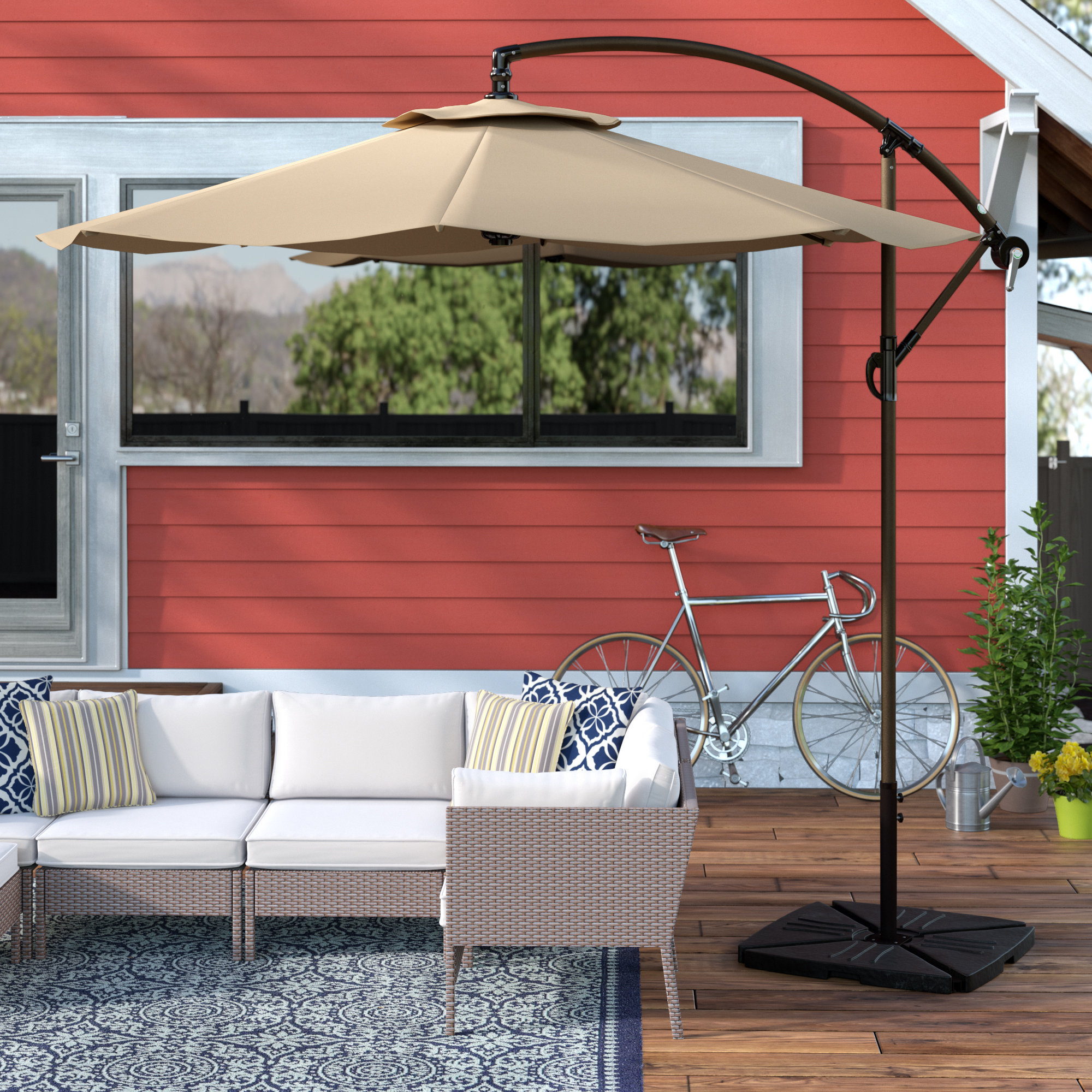 Favorite Karr Cantilever Umbrellas For Alcott Hill Karr 10' Cantilever Umbrella & Reviews (View 4 of 20)
