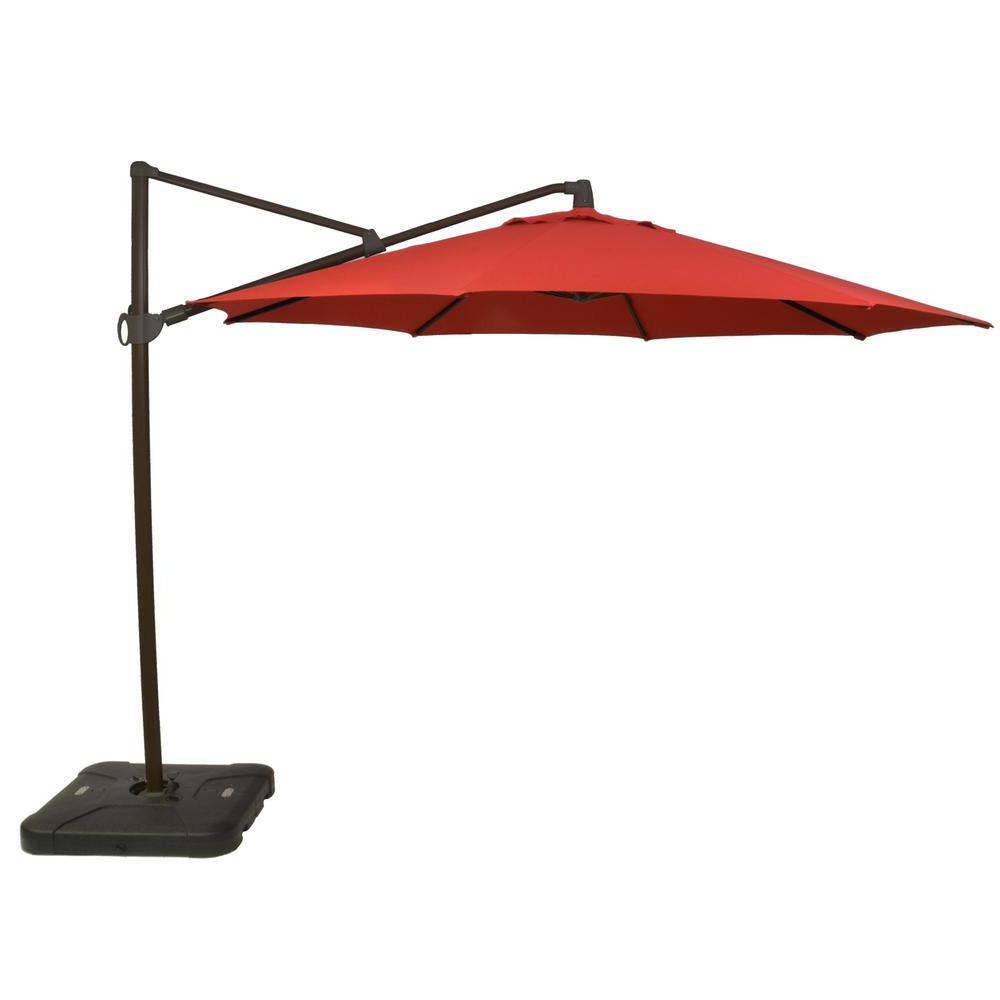 Favorite Pau Rectangular Market Umbrellas In Red – Cantilever Umbrellas – Patio Umbrellas – The Home Depot (View 4 of 20)