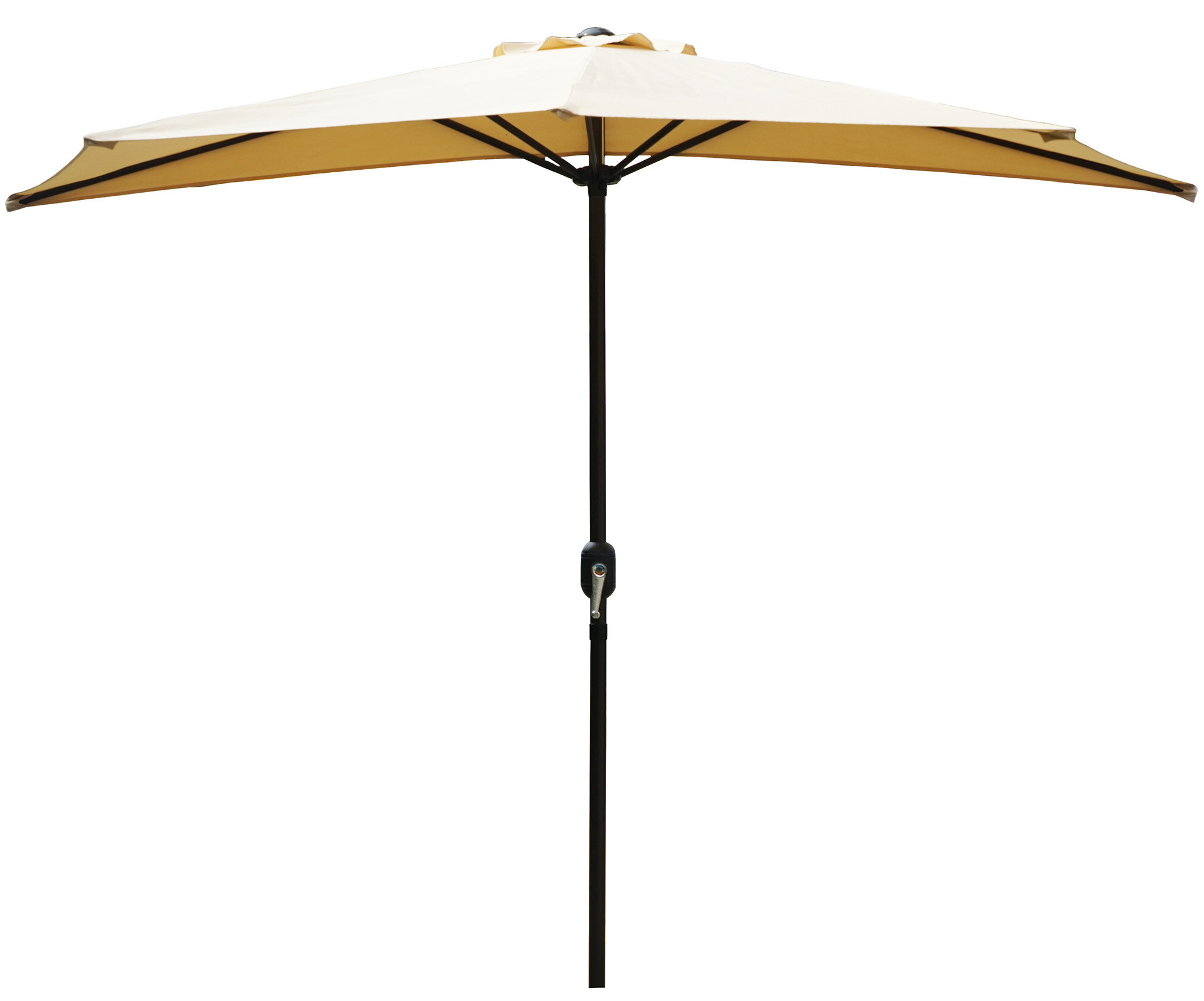 Favorite Sheehan Market Umbrellas Inside Alder 9' Half Round Outdoor Patio Market Umbrella (View 6 of 20)