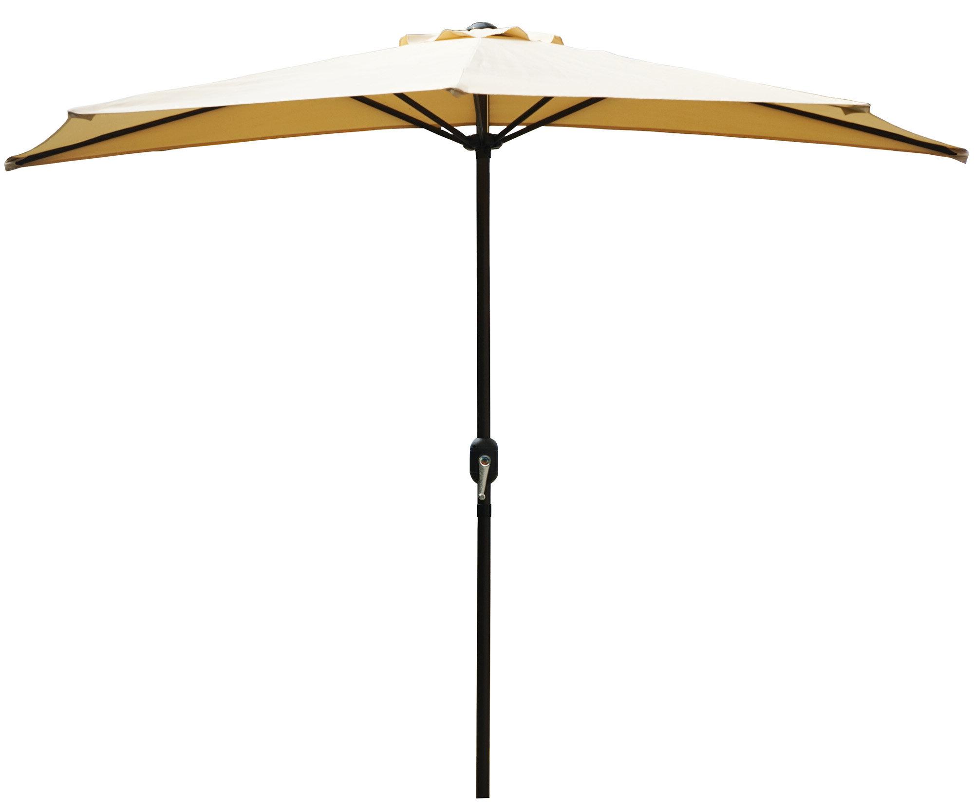 Favorite Sheehan Market Umbrellas Inside Alder 9' Half Round Outdoor Patio Market Umbrella (View 3 of 20)