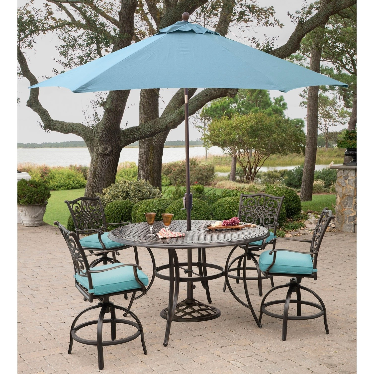 Favorite Traditions 5 Piece High Dining Set In Blue With 4 Swivel Chairs, A Throughout Cannock Market Umbrellas (View 8 of 20)
