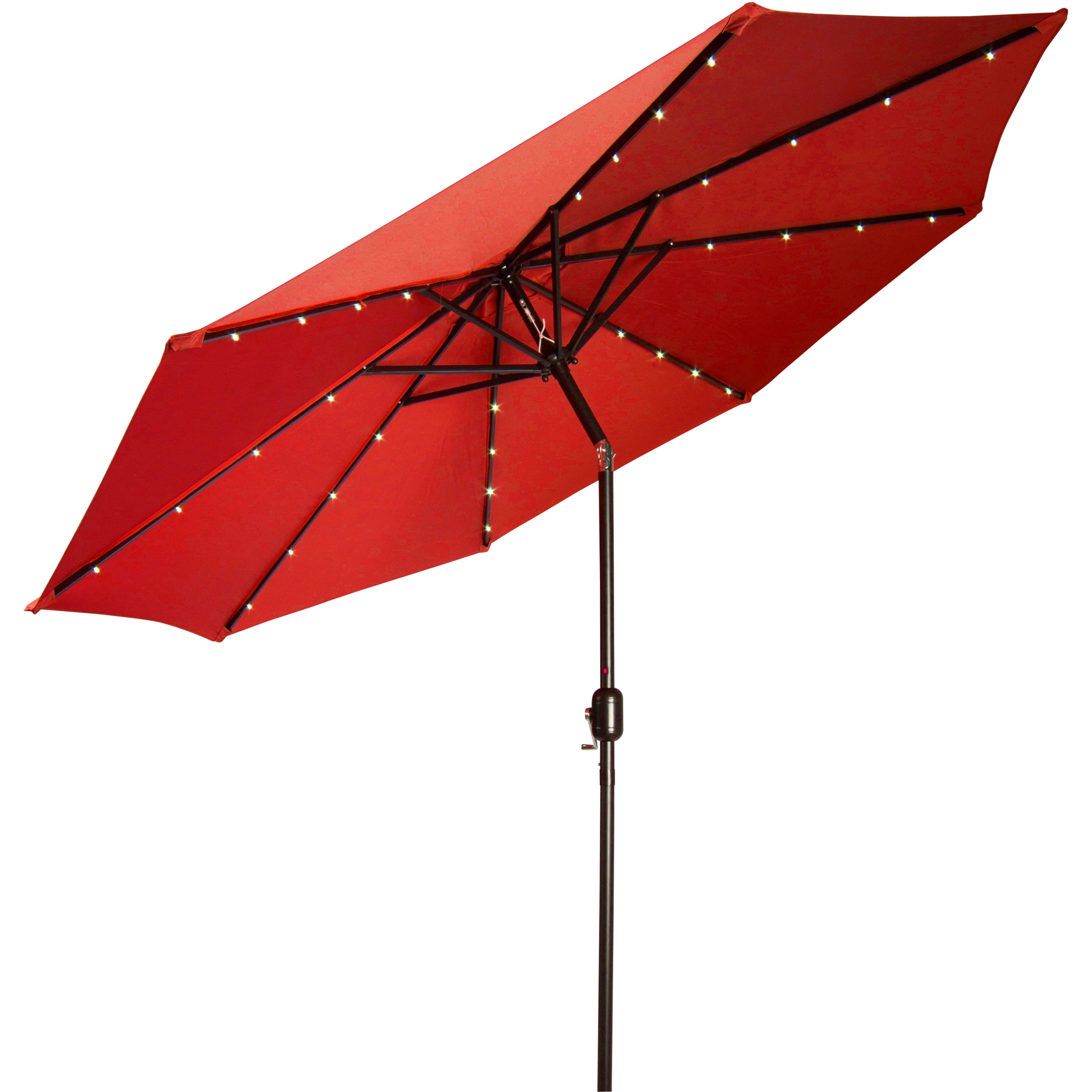 Favorite Venice Lighted Umbrellas In Trademark Innovations Deluxe 9 Foot Solar Powered Led Lighted Red Patio  Umbrella (View 3 of 20)