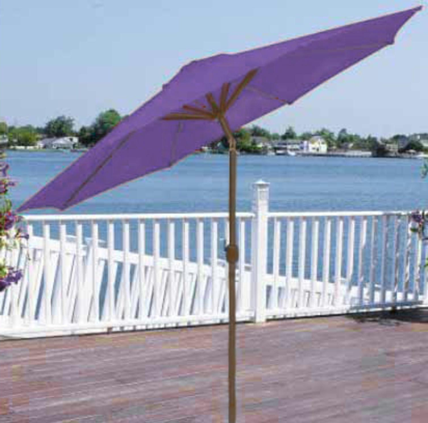 Fordwich Rectangular Cantilever Umbrellas With Widely Used 9' Outdoor Patio Market Umbrella With Hand Crank And Tilt – Purple (View 13 of 20)