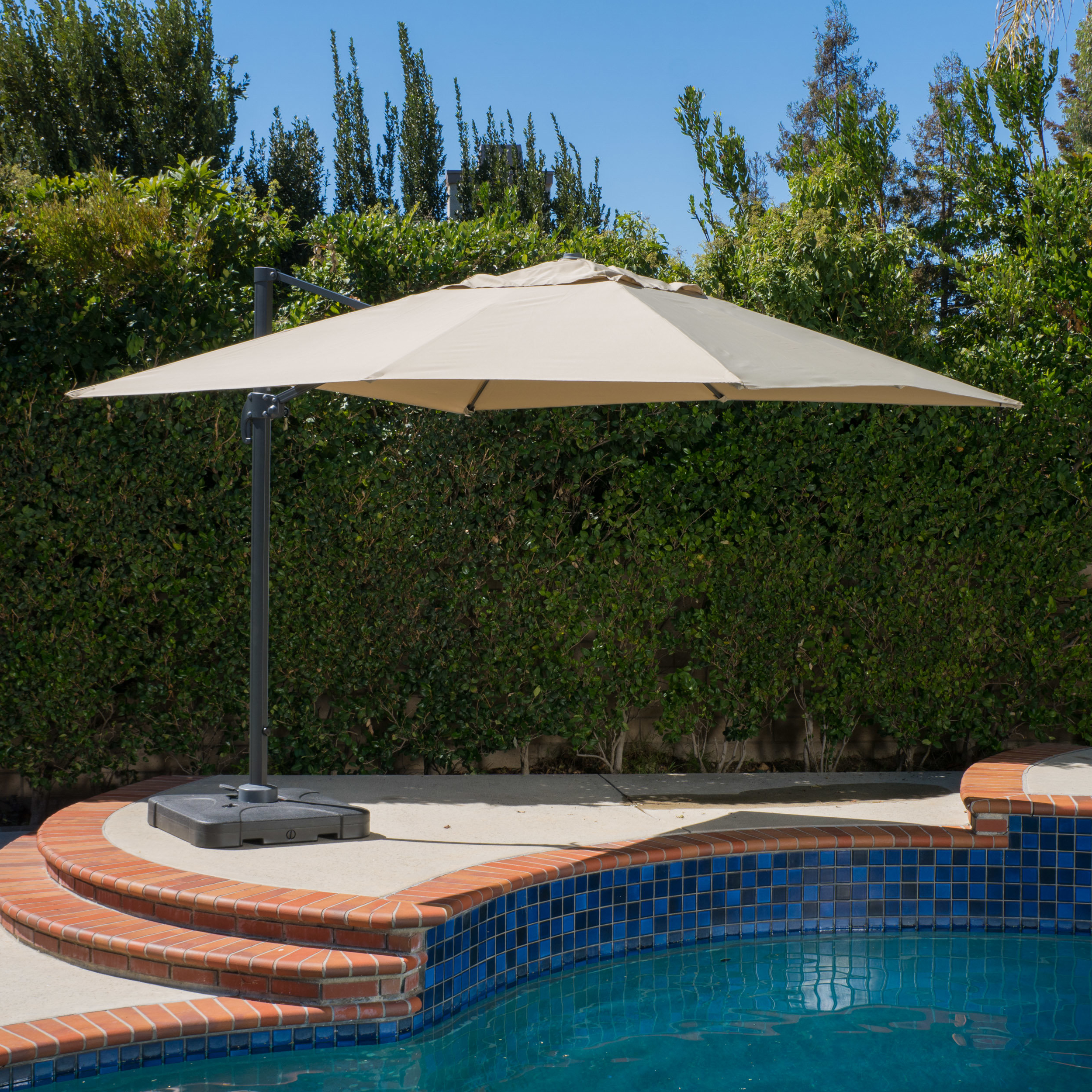 Frederick 10' Square Cantilever Umbrella In Fashionable Windell Square Cantilever Umbrellas (View 7 of 20)