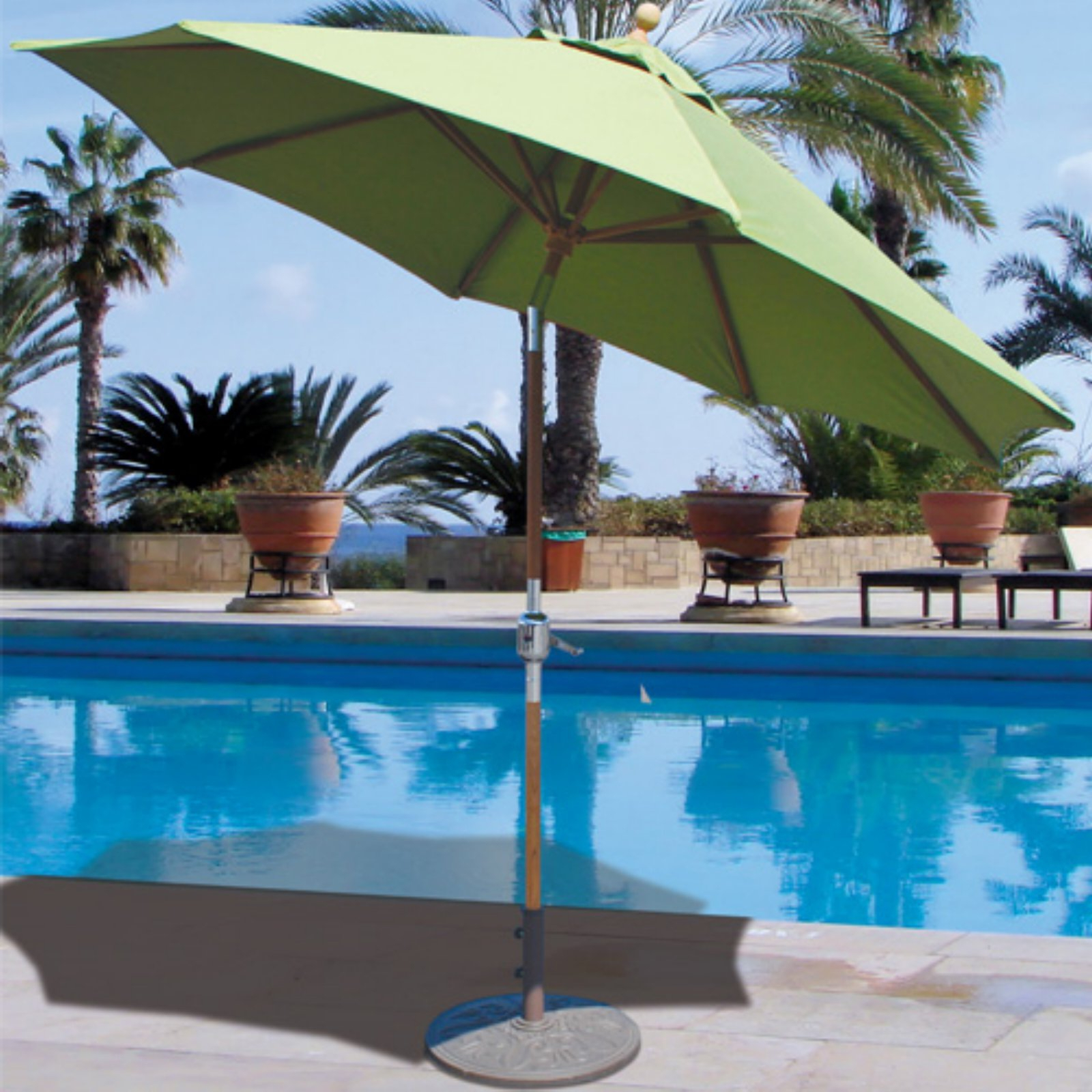 Galtech 9 Ft. Teak Wood Suncrylic Patio Umbrella With Crank Lift And With Regard To Current Schroeder Heavy Duty Beach Umbrellas (Gallery 17 of 20)