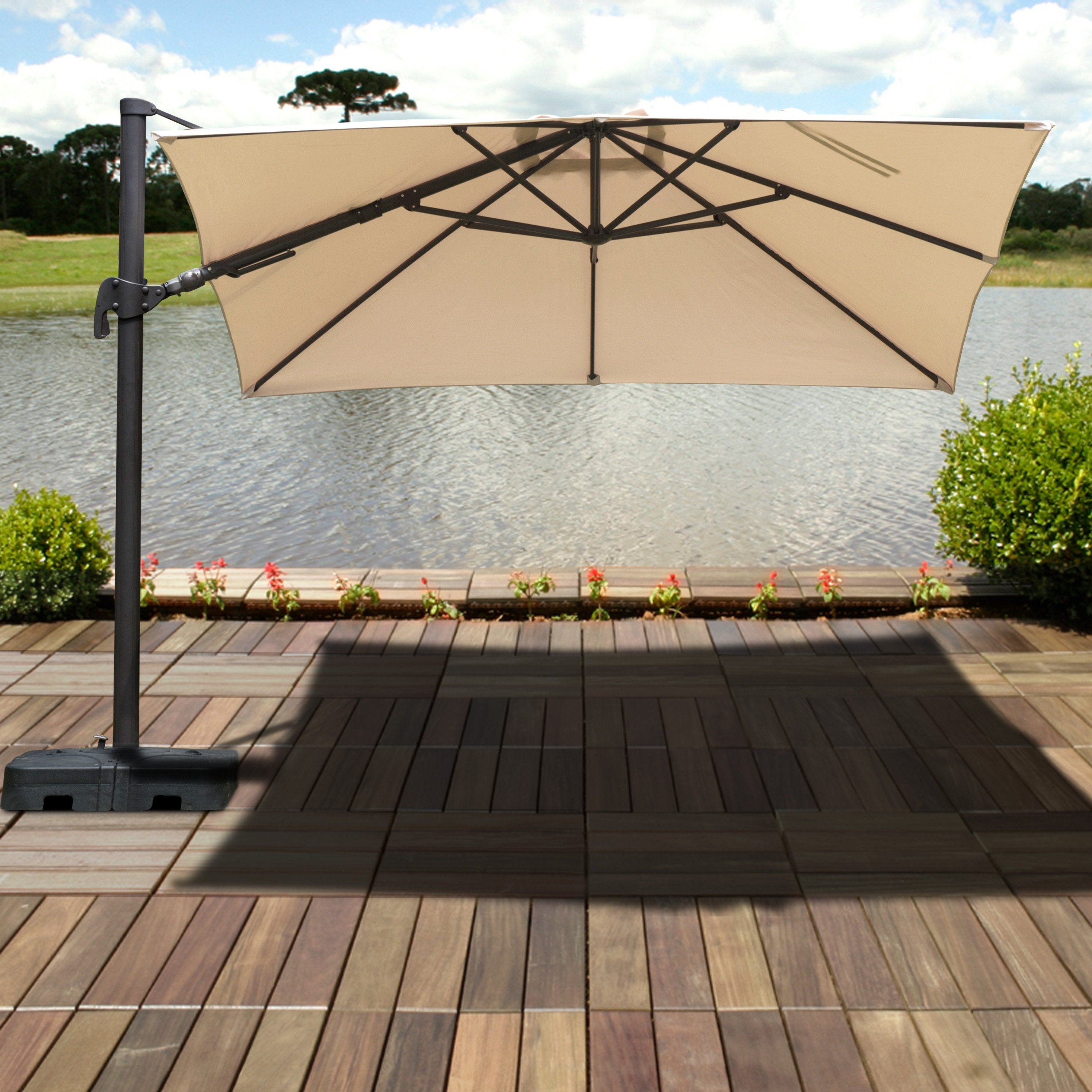 Gemmenne 10' Square Cantilever Umbrella With Regard To Well Liked Tallulah Sunshade Hanging Outdoor Cantilever Umbrellas (View 18 of 20)