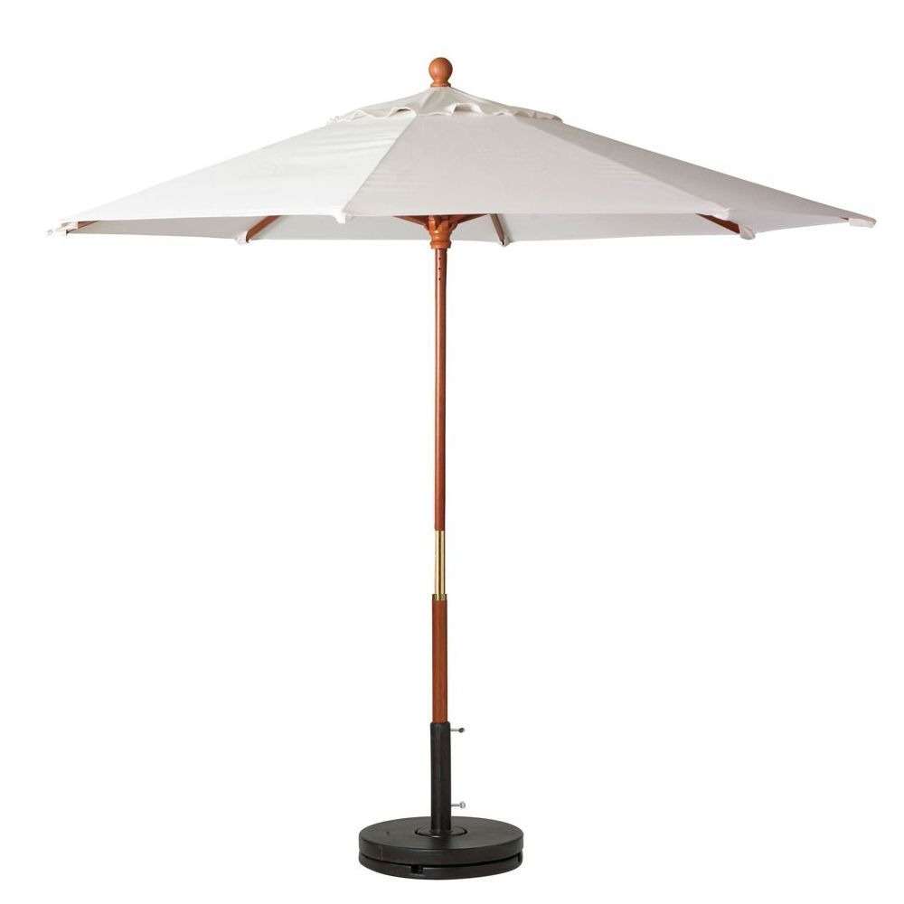 "Grosfillex 98940431 White 7 Foot Market Umbrella With 1 1/2"" Wooden Intended For Most Recent Artrip Market Umbrellas (View 8 of 20)"