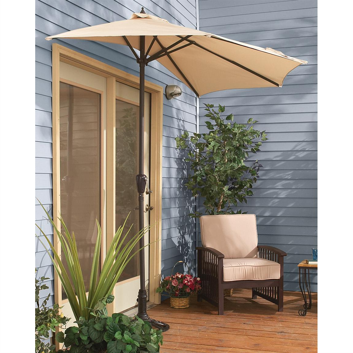Half Patio Umbrella – 180058, Patio Umbrellas At Sportsman's Guide Pertaining To Current Half Round Market Umbrellas (View 6 of 20)