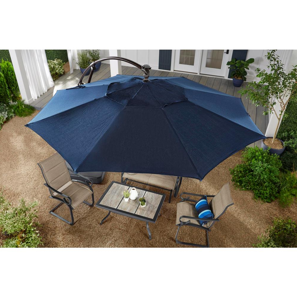 Hampton Bay 11 Ft. Aluminum Cantilever Solar Led Offset Patio Intended For 2020 Gribble 3Cantilever Umbrellas (Gallery 12 of 20)