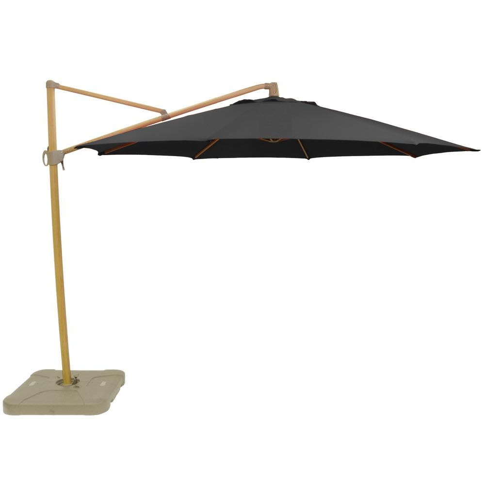 Hampton Bay 11 Ft. Aluminum Cantilever Tilt Patio Umbrella In With Latest Alyssa Cantilever Umbrellas (Gallery 8 of 20)