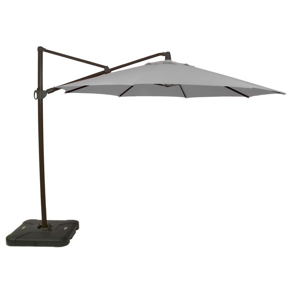 Hampton Bay 11 Ft. Aluminum Cantilever Tilt Patio Umbrella In Within Newest Farnham Cantilever Umbrellas (Gallery 9 of 20)