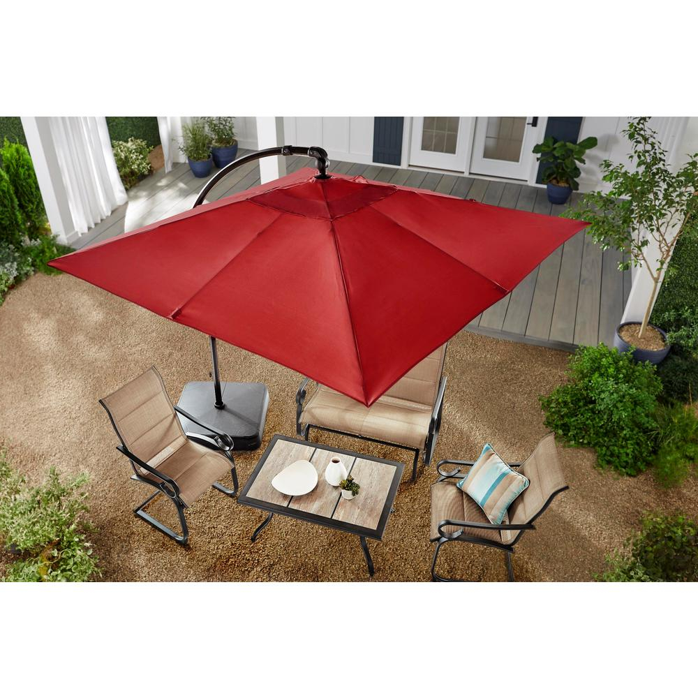 Hampton Bay 8 Ft. Square Aluminum Cantilever Offset Patio Umbrella In Chili With Well Known Cantilever Umbrellas (Gallery 3 of 20)