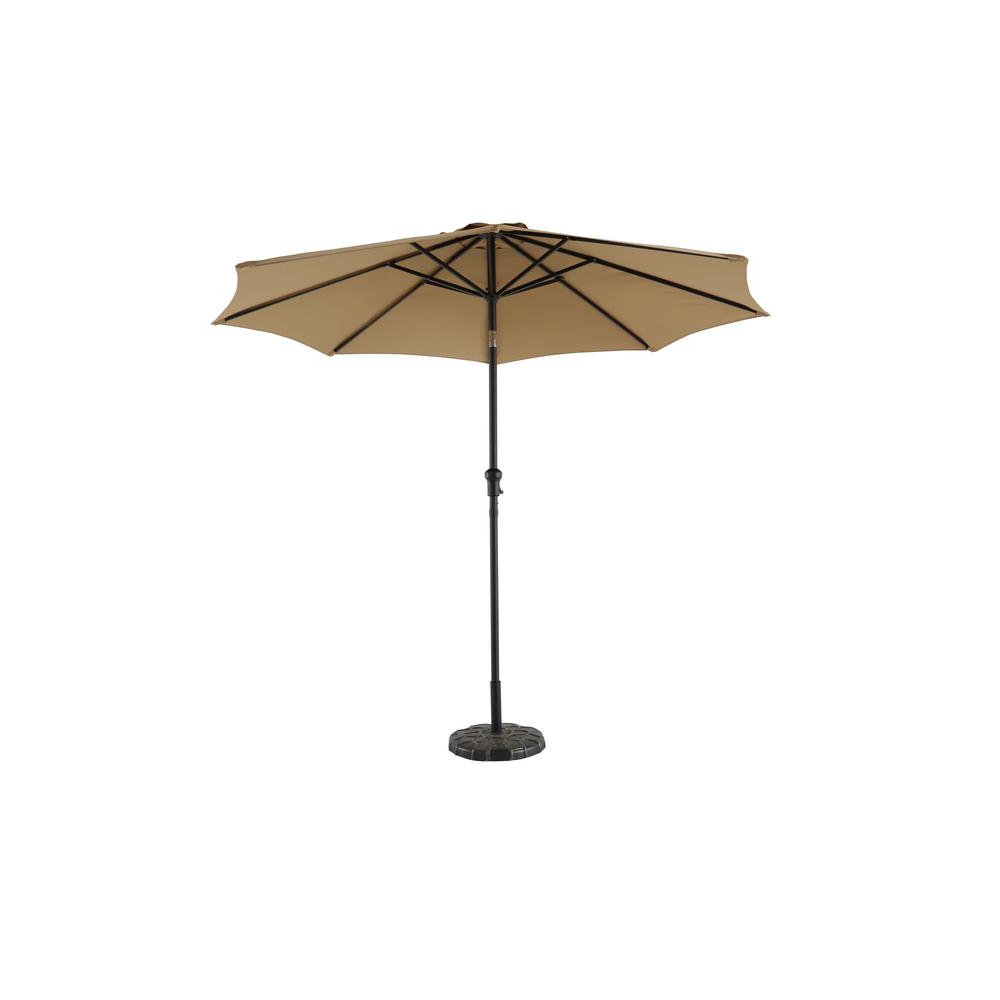 Hampton Bay 9 Ft. Steel Crank And Tilt Patio Umbrella In Cafe Within Widely Used Caleb Market Umbrellas (Gallery 2 of 20)