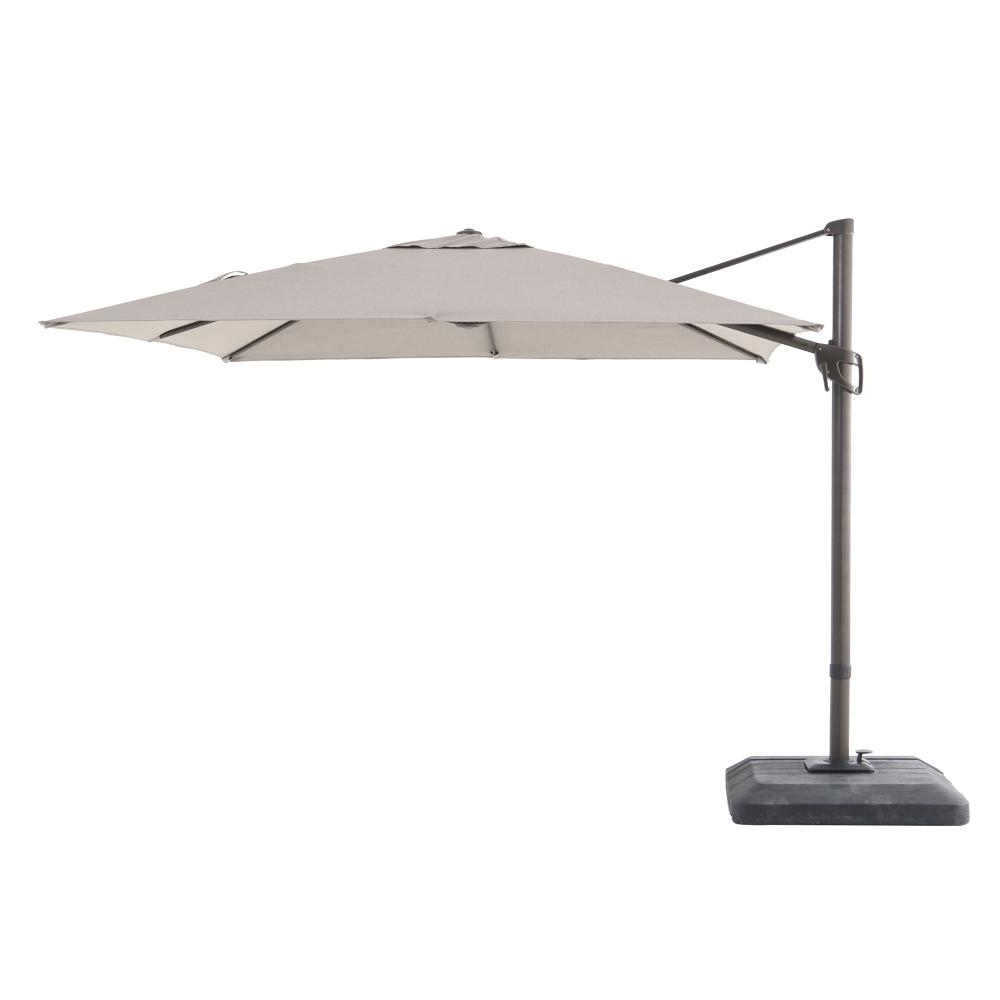 Hampton Bay Commercial 10 Ft. X 10 Ft. Aluminum Square Offset Cantilever  Patio Umbrella In Sunbrella Cast Shale In Best And Newest Cantilever Umbrellas (Gallery 13 of 20)