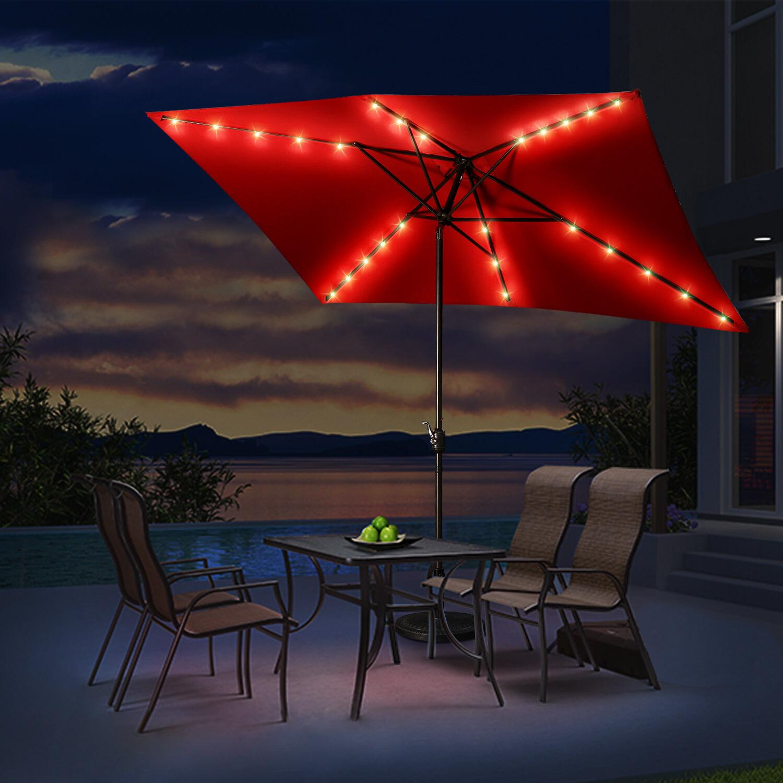 Hartlepool Market Umbrella With Most Up To Date Griselda Solar Lighted Rectangular Market Umbrellas (View 10 of 20)