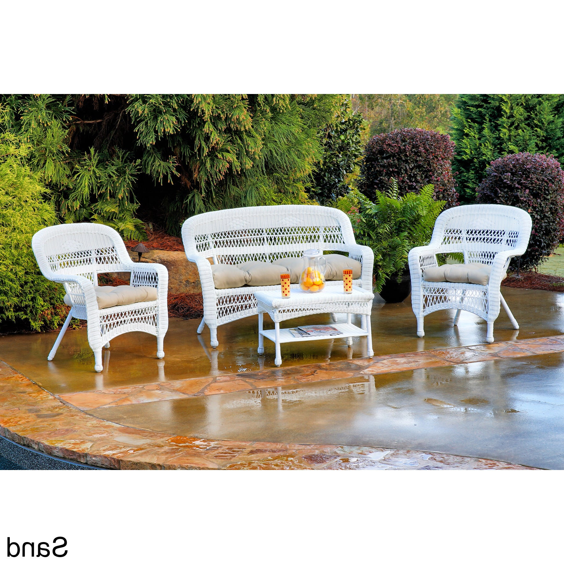 Havenside Home Lincolnville Outdoor 4 Piece Seating Set With Coastal White  Wicker For Most Current Monty Half Market Umbrellas (View 8 of 20)