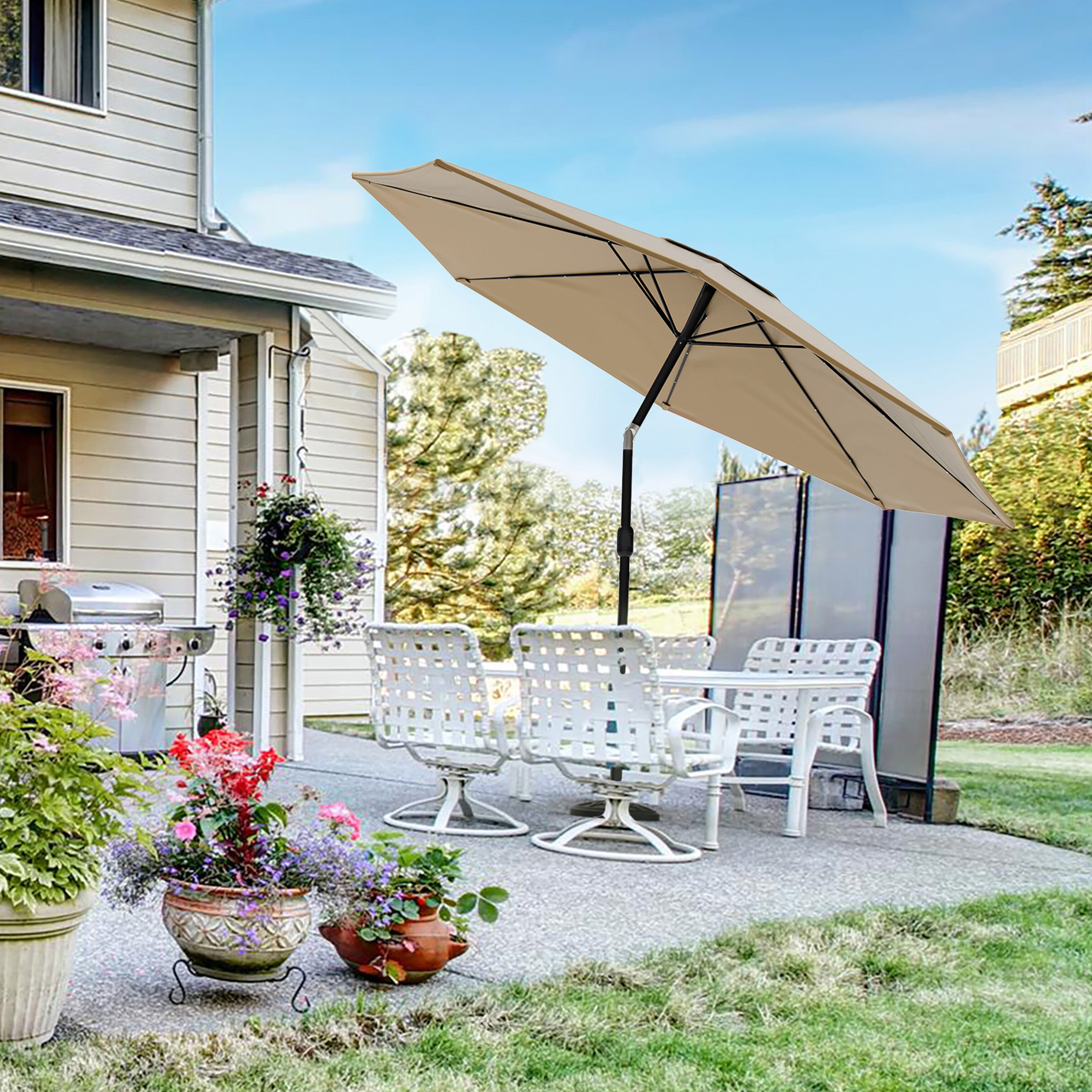 Haverhill Umbrellas Within Best And Newest Solar Powered Led Patio Umbrella (View 6 of 20)