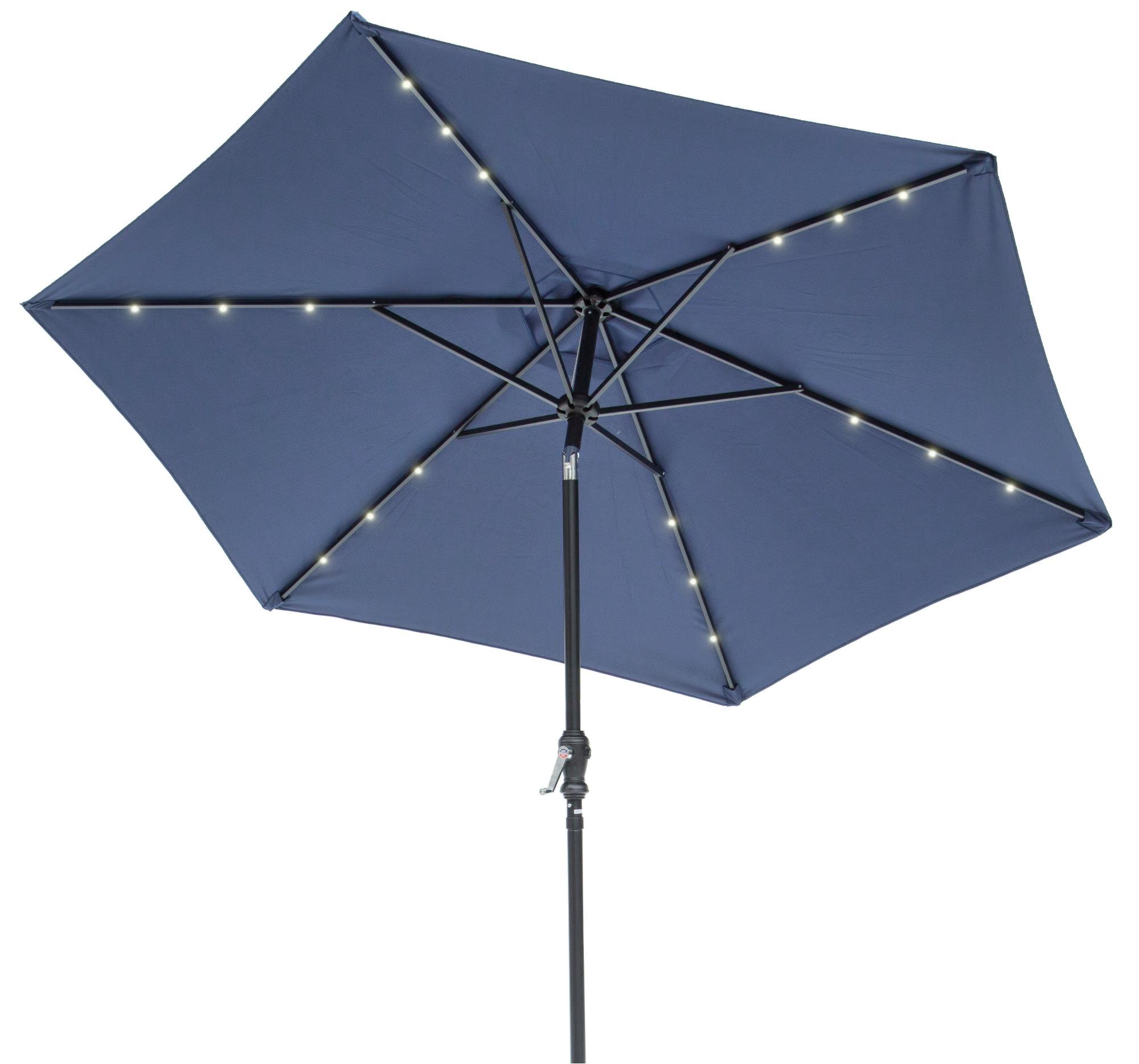 Herlinda Solar Lighted 9' Market Umbrella Intended For Trendy Hawkinge Market Umbrellas (View 10 of 20)